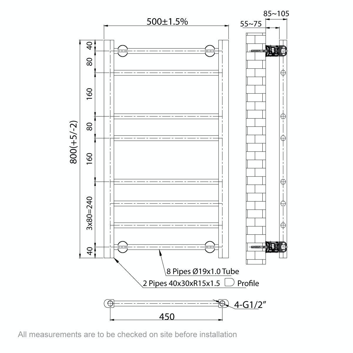Dimensions for Clarity bathroom towel rail 800 x 500