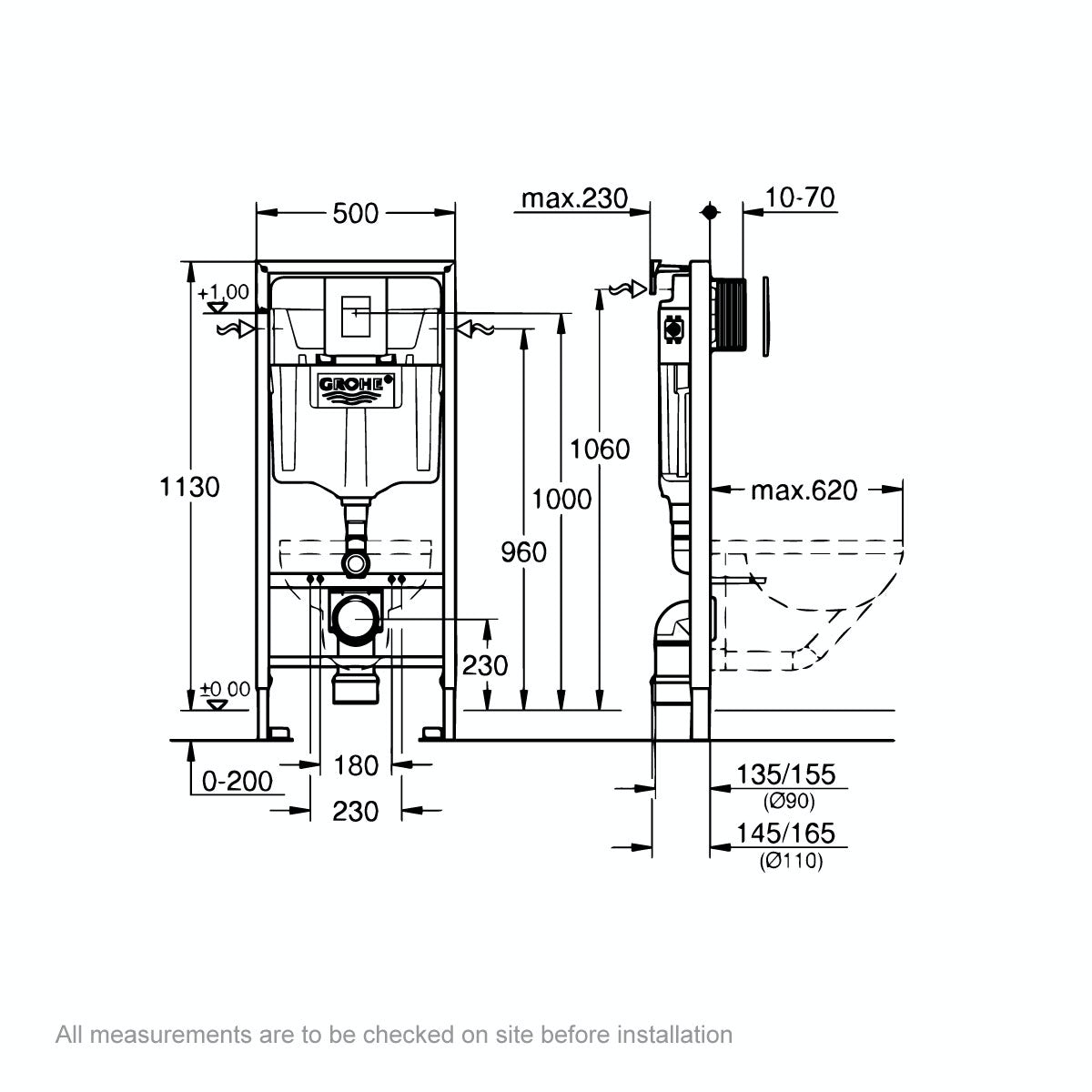 Dimensions for Grohe Rapid SL Set 3 in 1 wall mounting frame with square button Skate Cosmopolitan push plate 1.13m