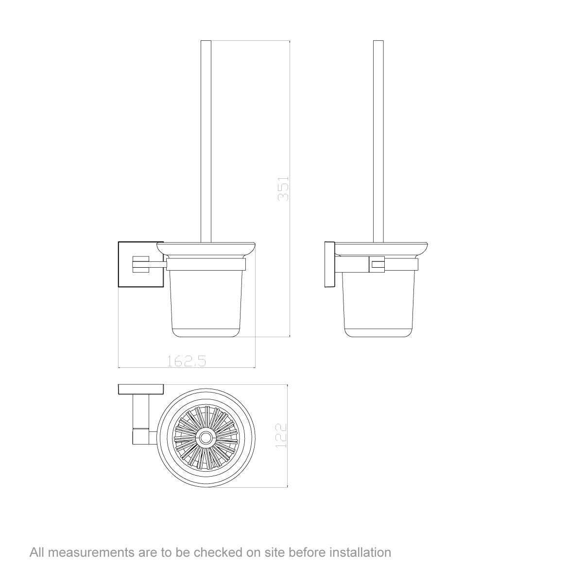 Dimensions for Orchard Flex toilet brush and holder