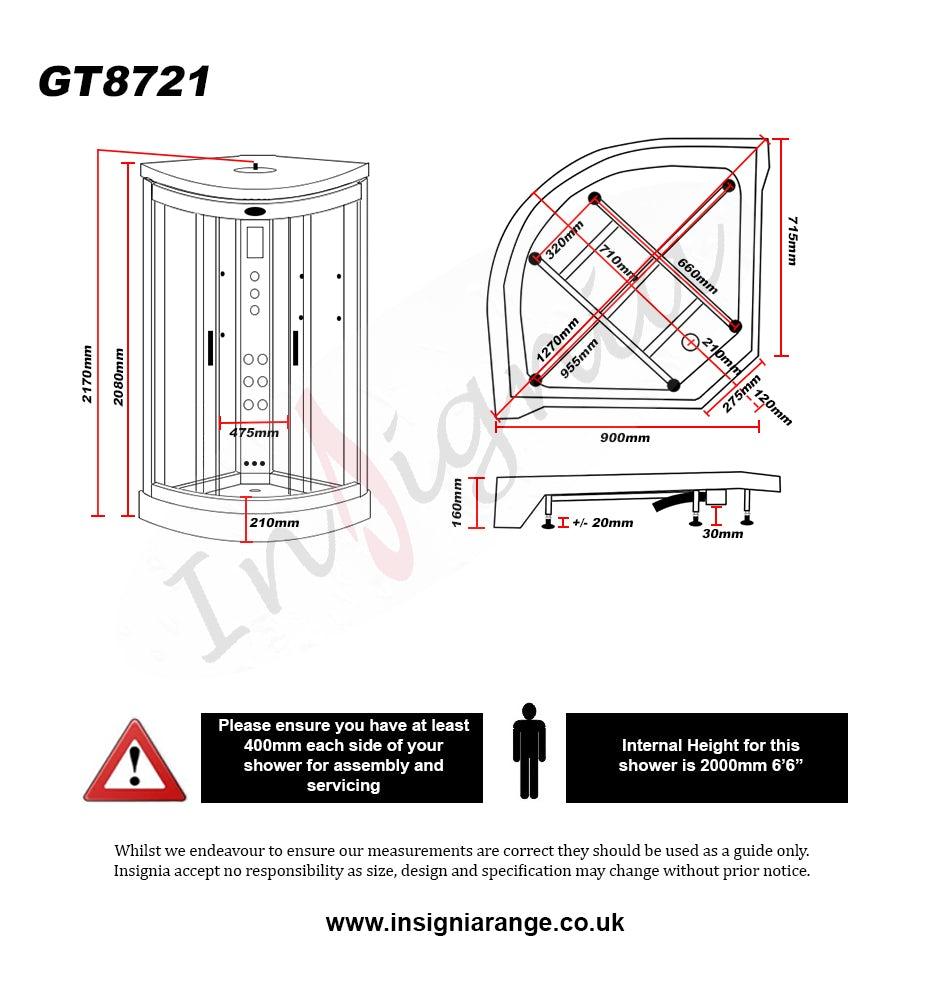 Dimensions for Insignia black quadrant hydro-massage shower cabin 900 x 900