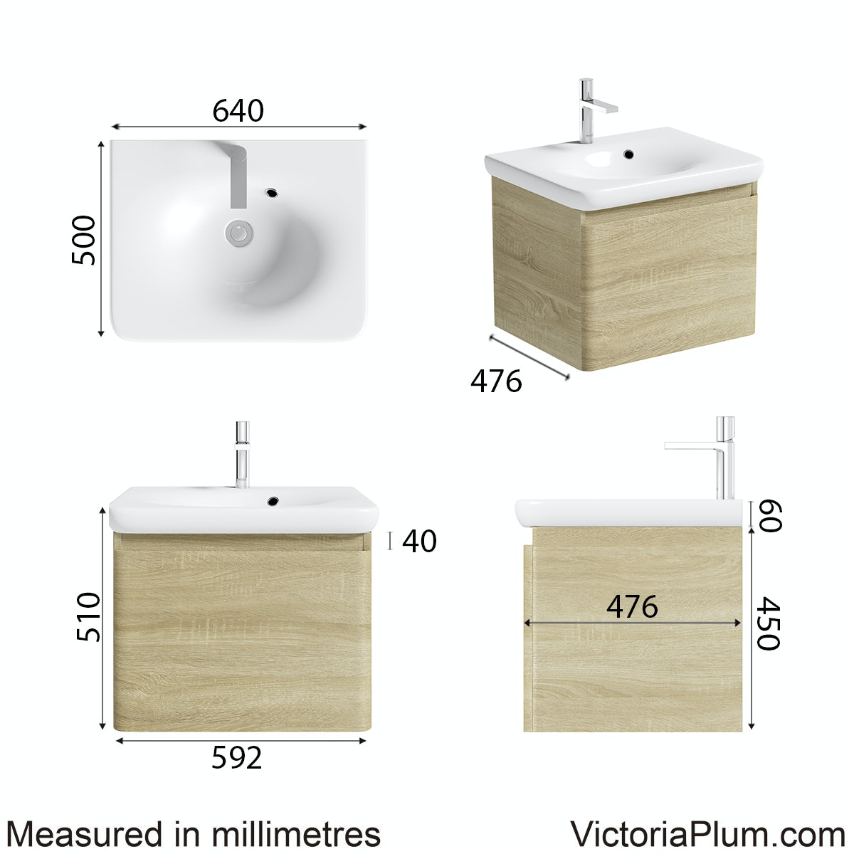 Dimensions for Mode Heath oak wall hung vanity unit and basin 600mm