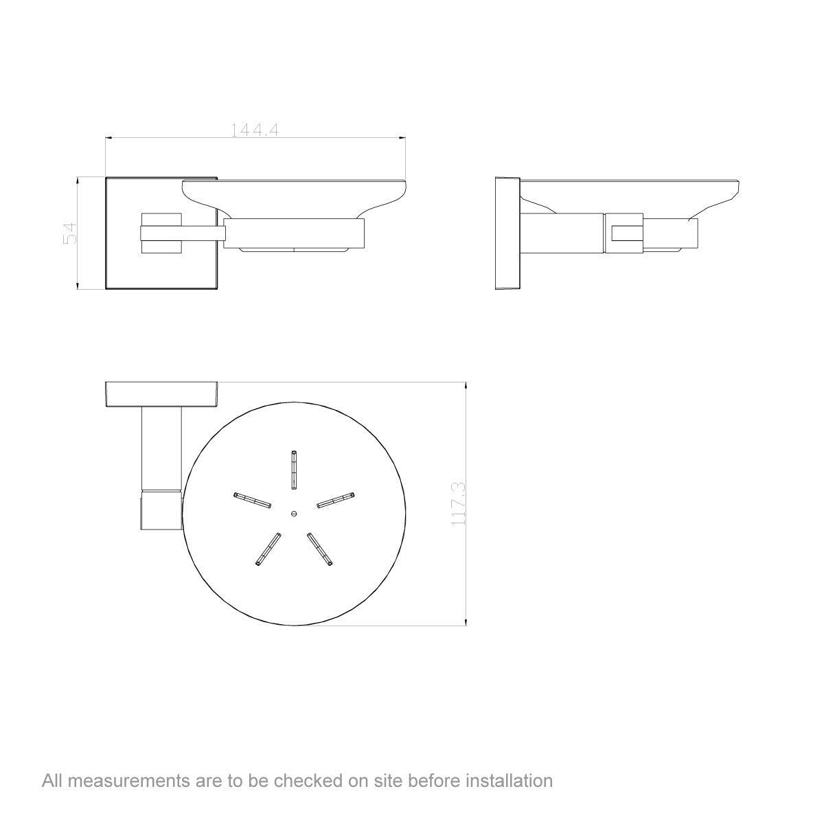 Dimensions for Orchard Flex soap dish
