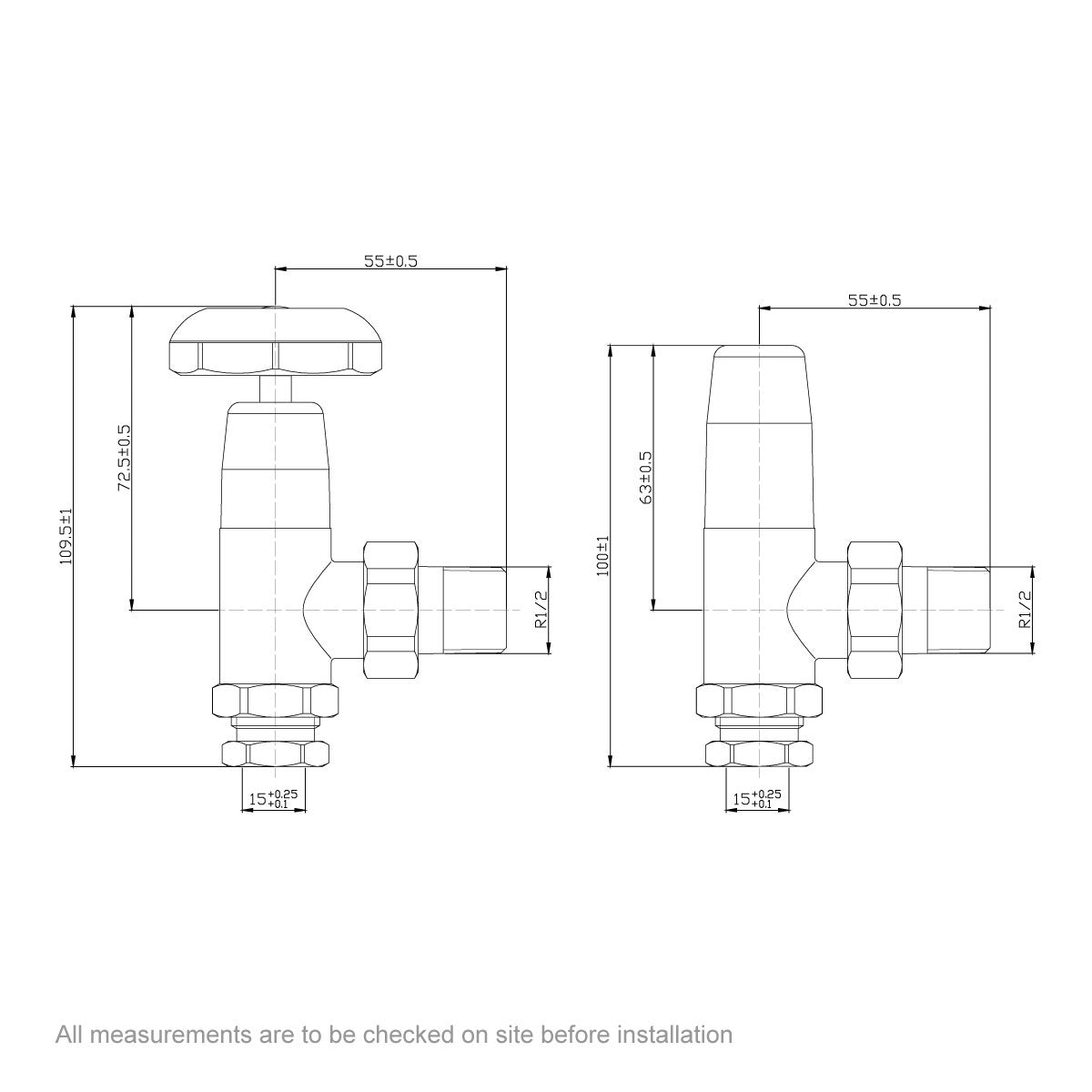 Dimensions for The Bath Co. Traditional angled radiator valves with white handle