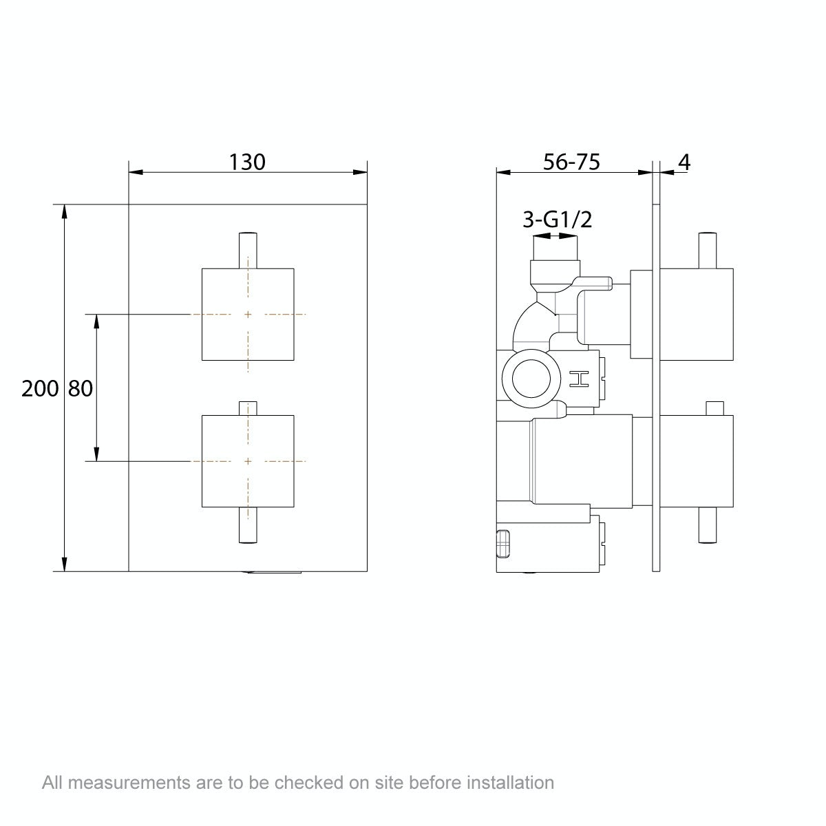 Dimensions for Mode Spencer square gold twin valve shower set