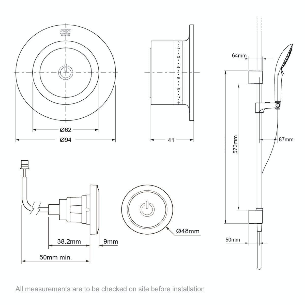Dimensions for Mira Mode ceiling fed digital shower pumped