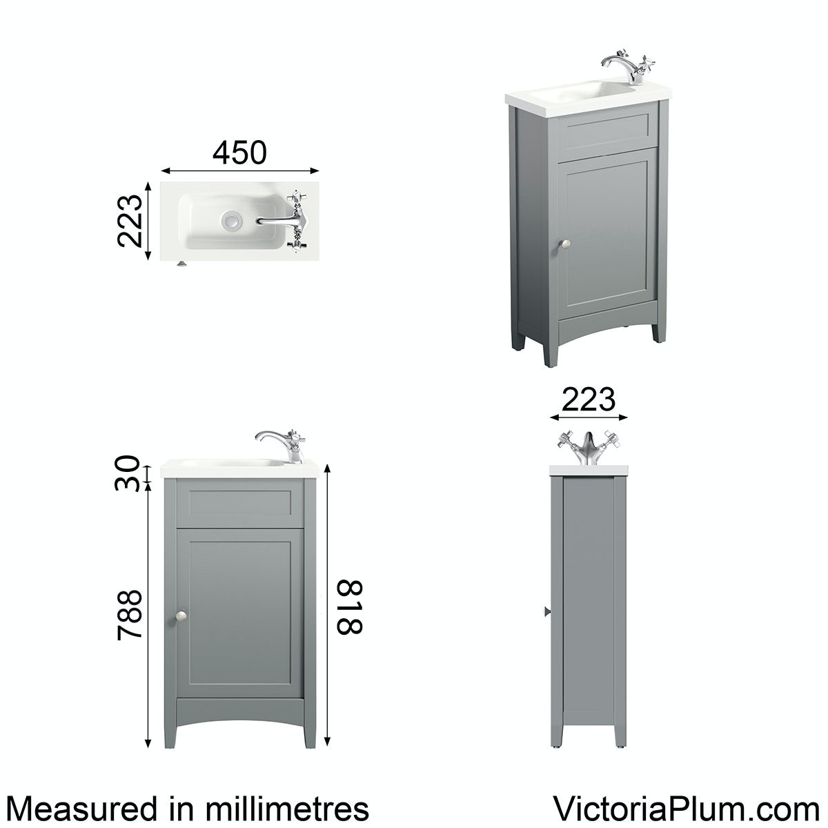 Dimensions for The Bath Co. Camberley grey cloakroom vanity with resin basin