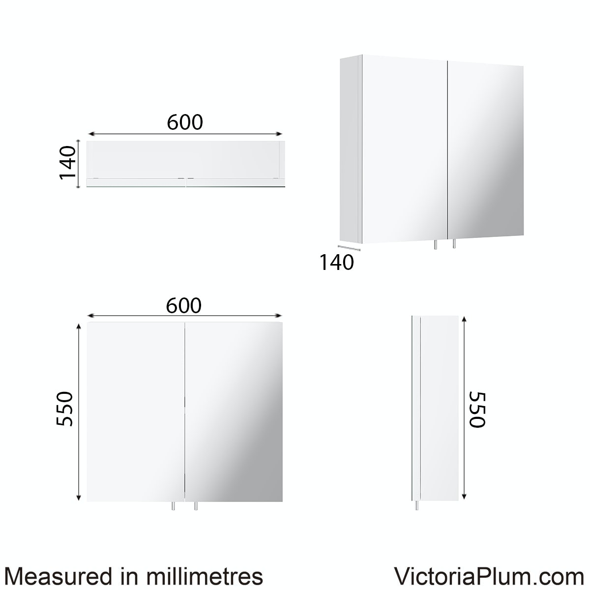 Dimensions for Orchard Emperor white steel mirror cabinet 600 x 550mm