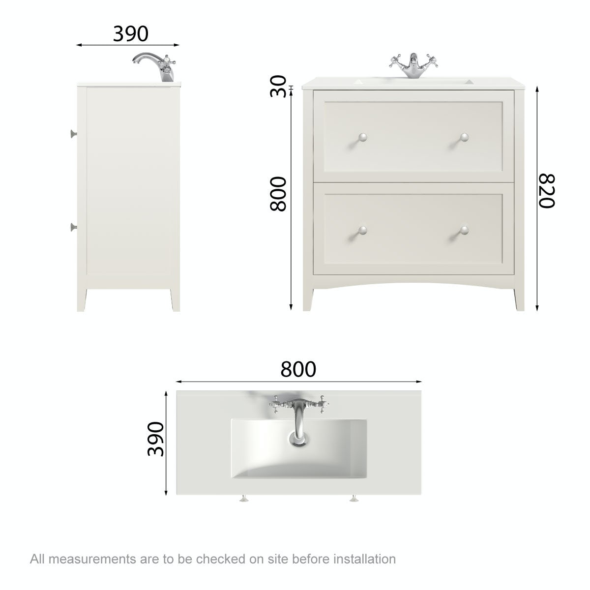 Dimensions for The Bath Co. Camberley satin ivory floor drawer unit with basin 800mm