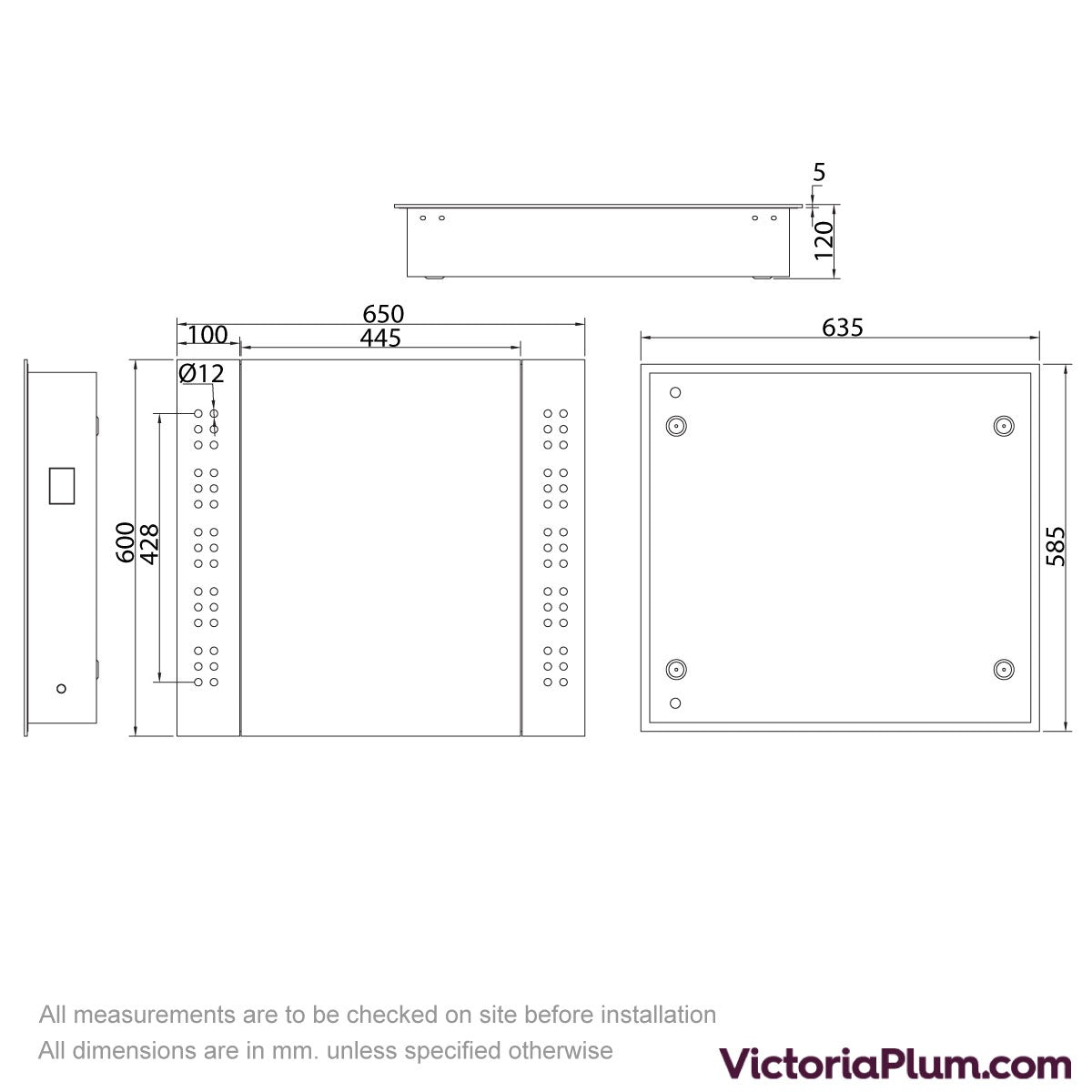 Dimensions for Mode Fuller LED Mirror cabinet 650x600