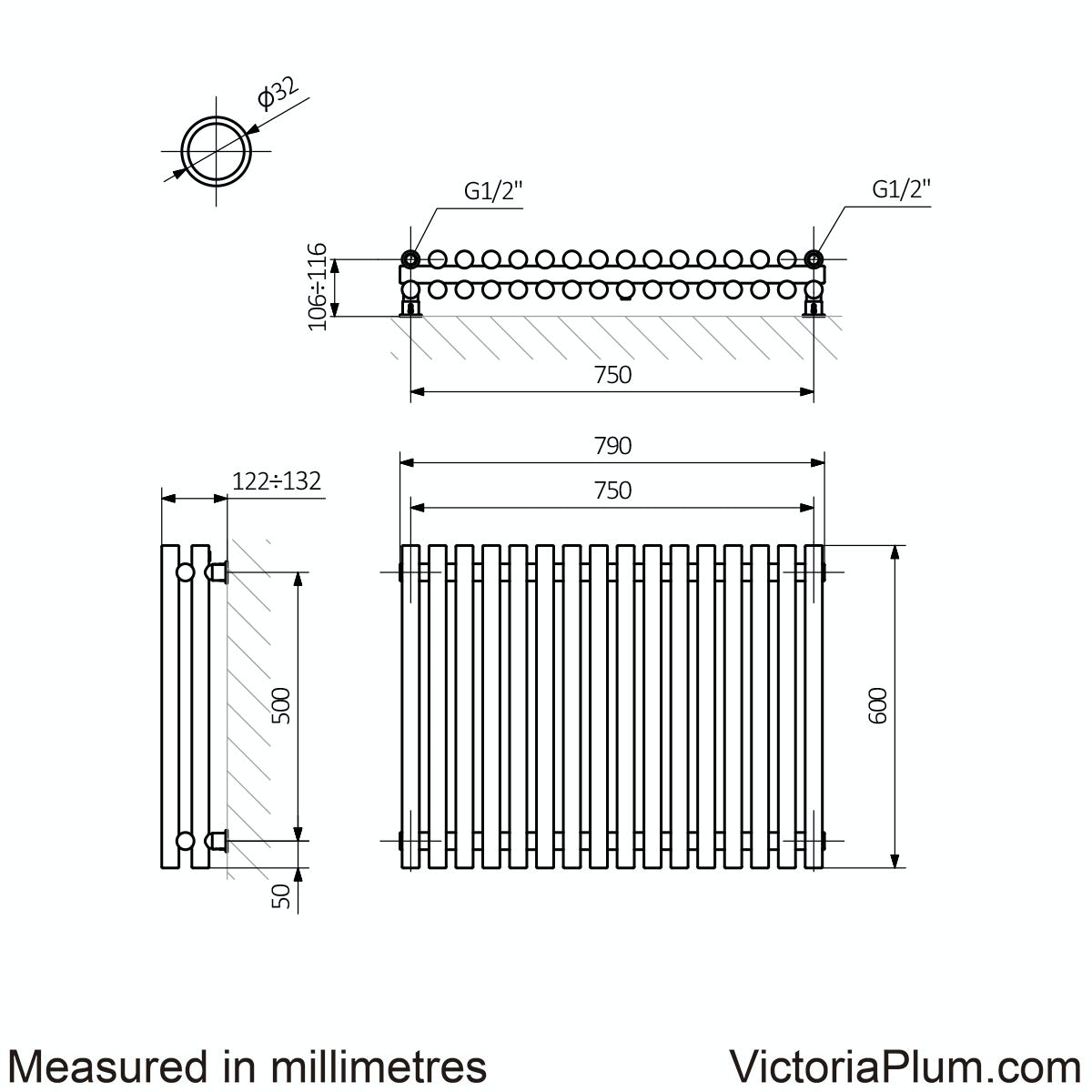 Dimensions for Terma Tune matt nickel double horizontal radiator 600 x 790