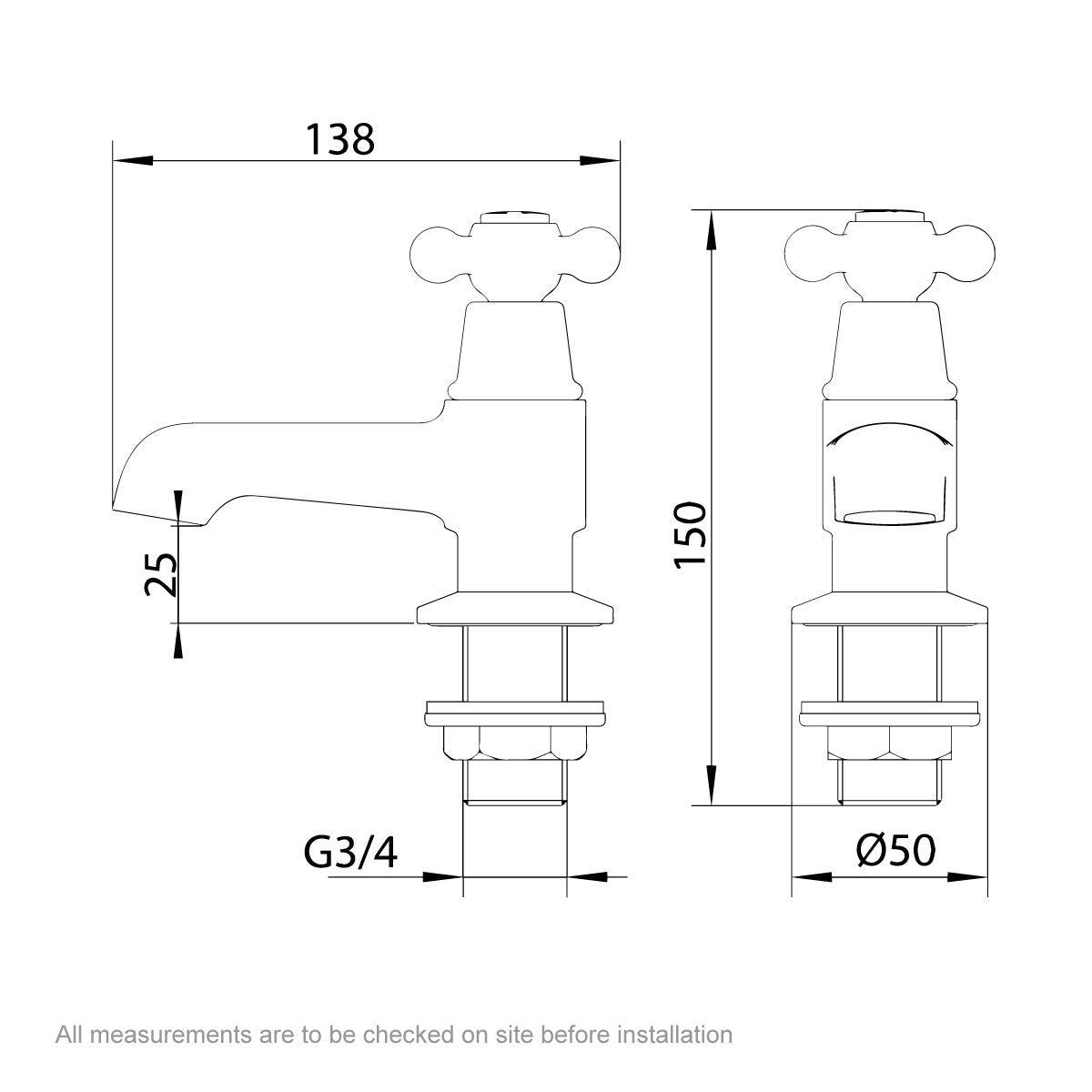 Dimensions for The Bath Co. Camberley bath pillar taps