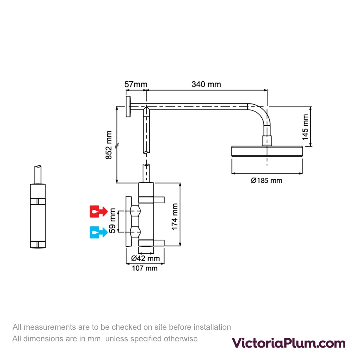 Dimensions for Mira Miniluxe ER thermostatic mixer shower