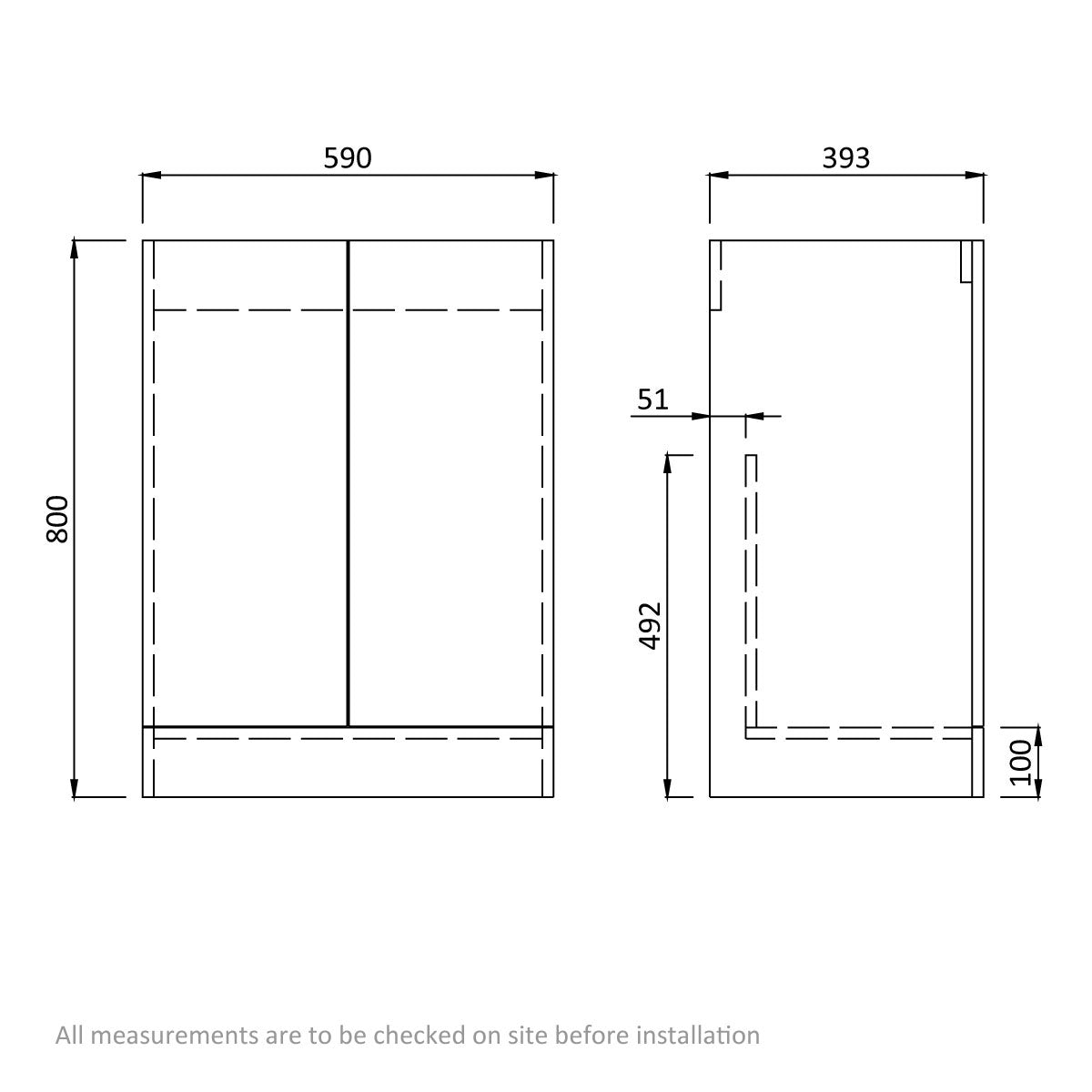 Dimensions for Orchard Wye essen vanity unit with basin 600mm