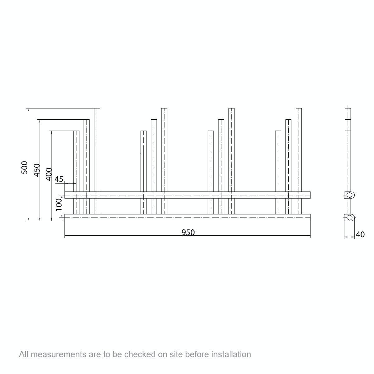 Dimensions for Mode Harrison heated towel rail 950 x 500