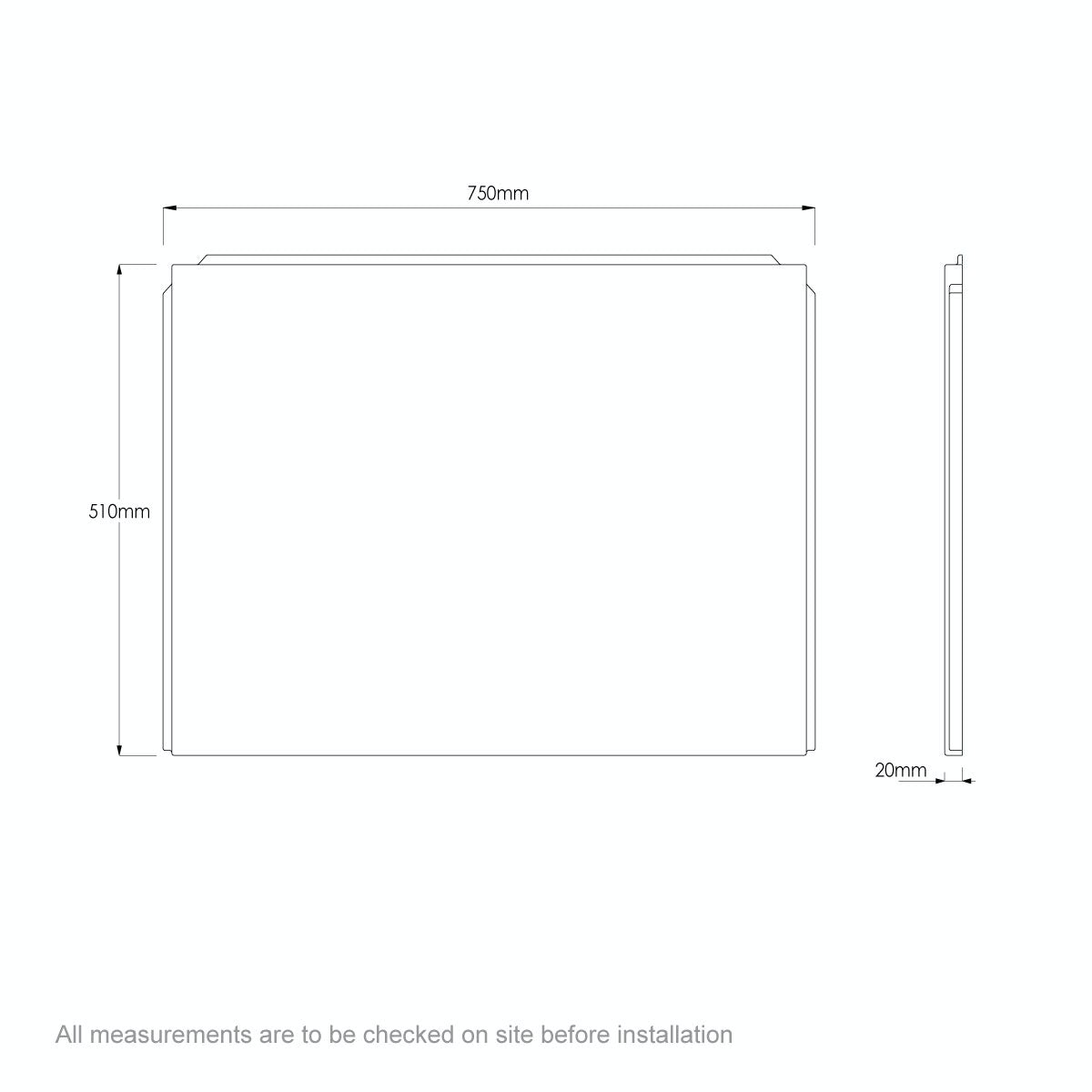 Dimensions for Orchard P shaped shower bath acrylic end panel 750mm