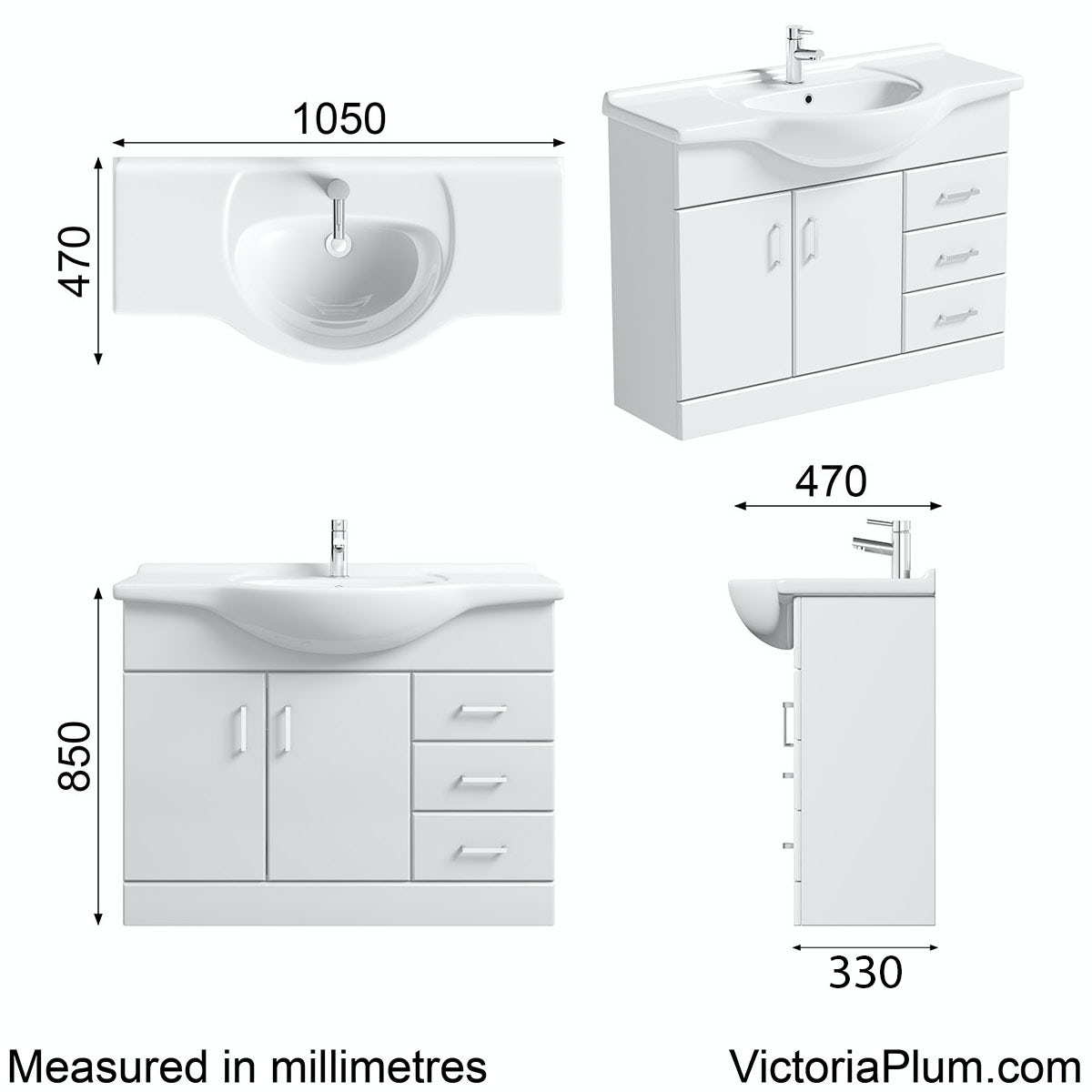Dimensions for Sienna white vanity unit with basin 1050mm