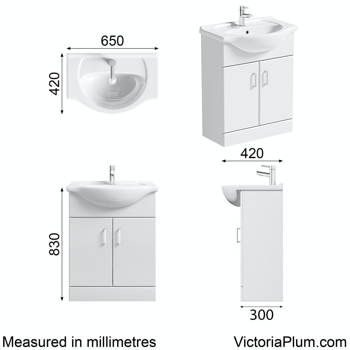 Dimensions for Orchard Eden white vanity unit and basin 650mm
