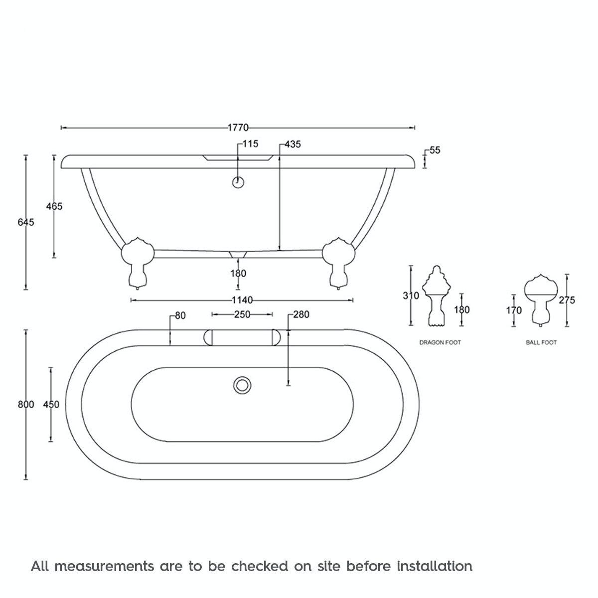 Dimensions for The Bath Co. Dulwich Sage coloured bath