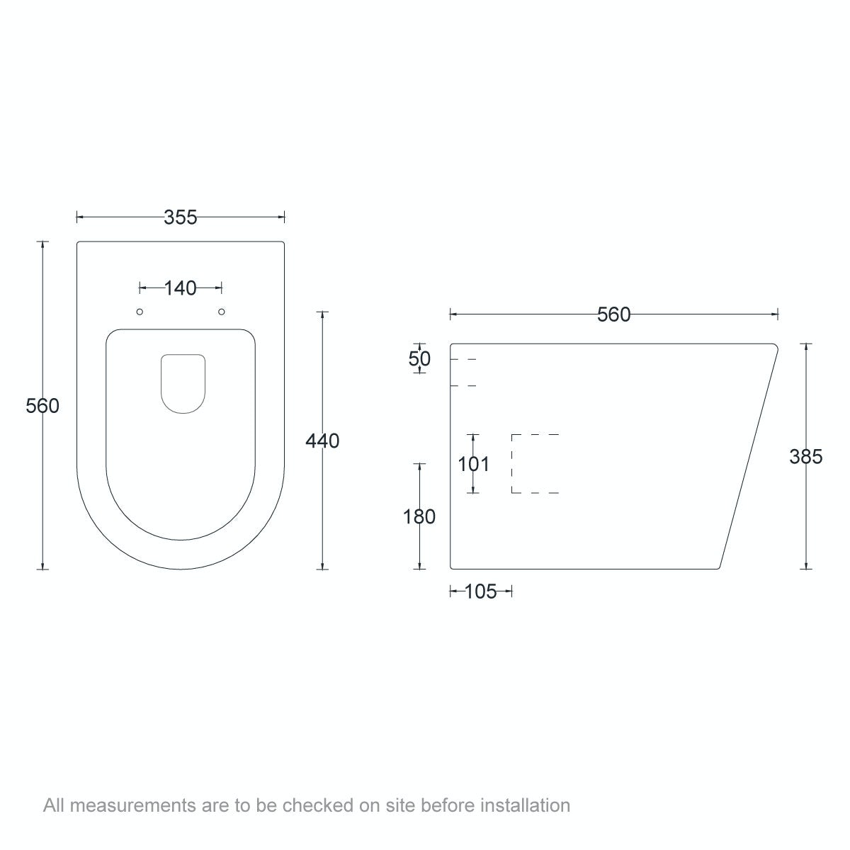 Dimensions for Mode Tate back to wall toilet with slim soft close seat