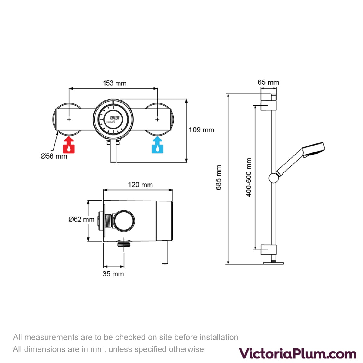 Dimensions for Mira Element SLT EV thermostatic mixer shower