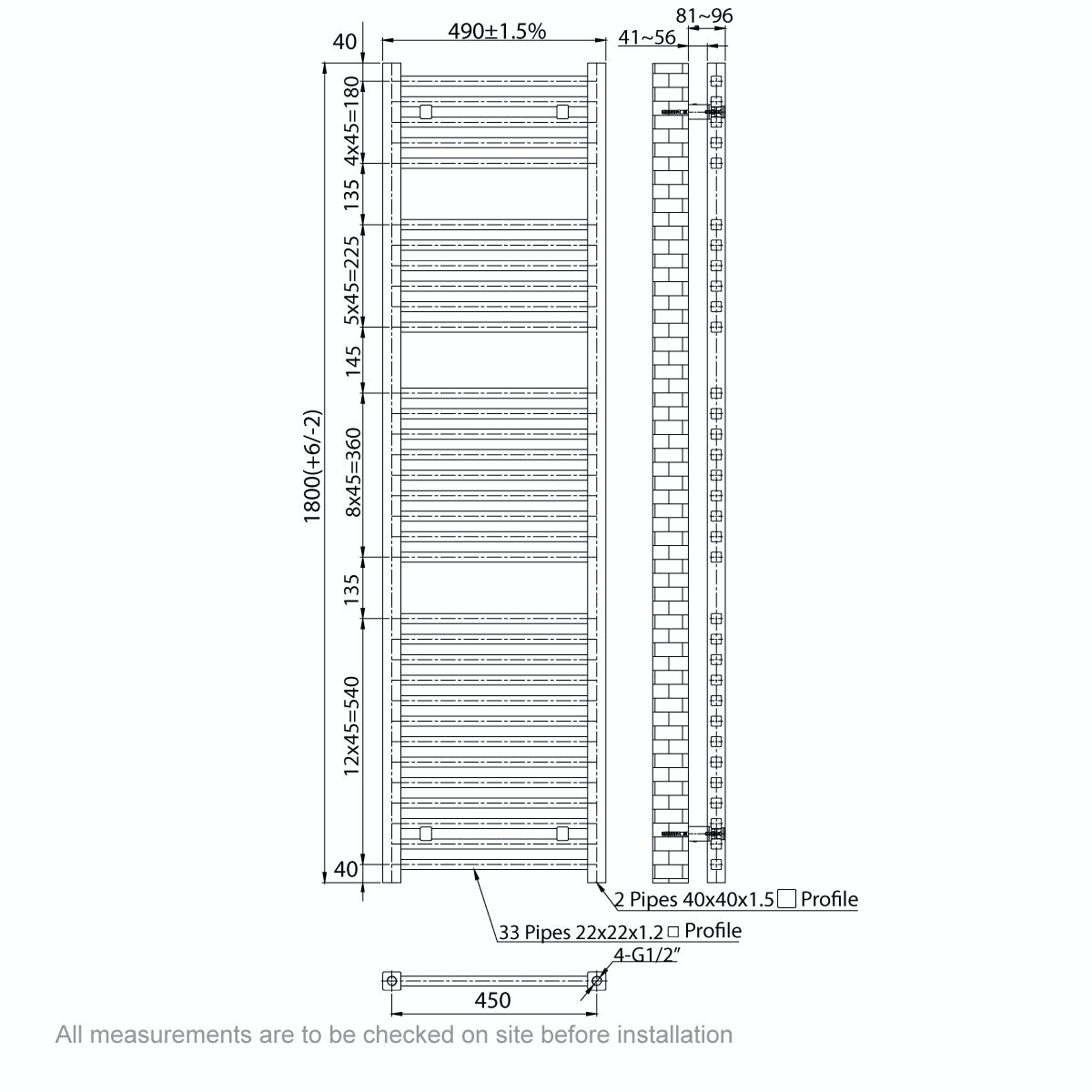 Dimensions for Orchard Wye heated towel rail 1800 x 490