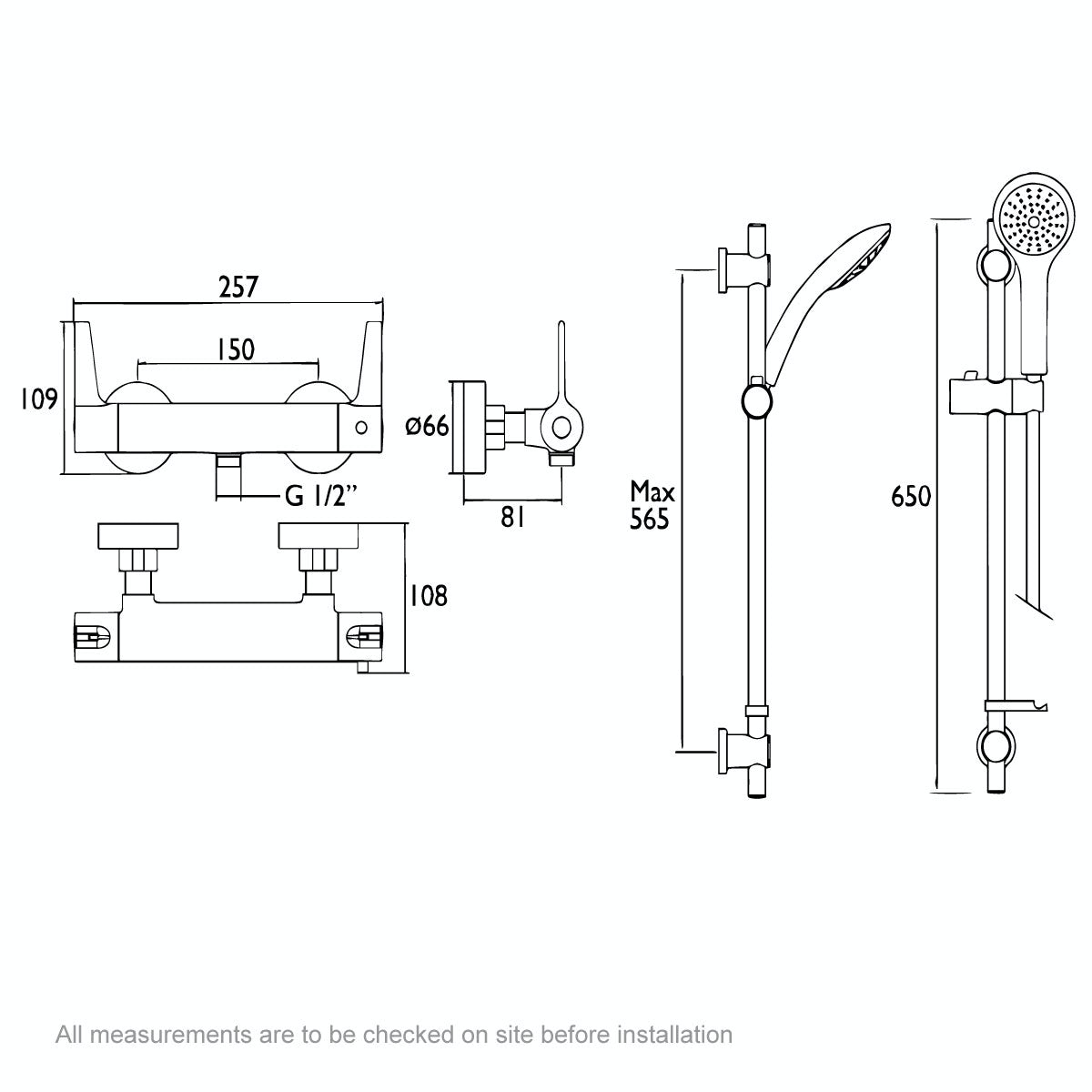 Dimensions for Bristan Design Utility thermostatic bar shower valve with slider rail kit