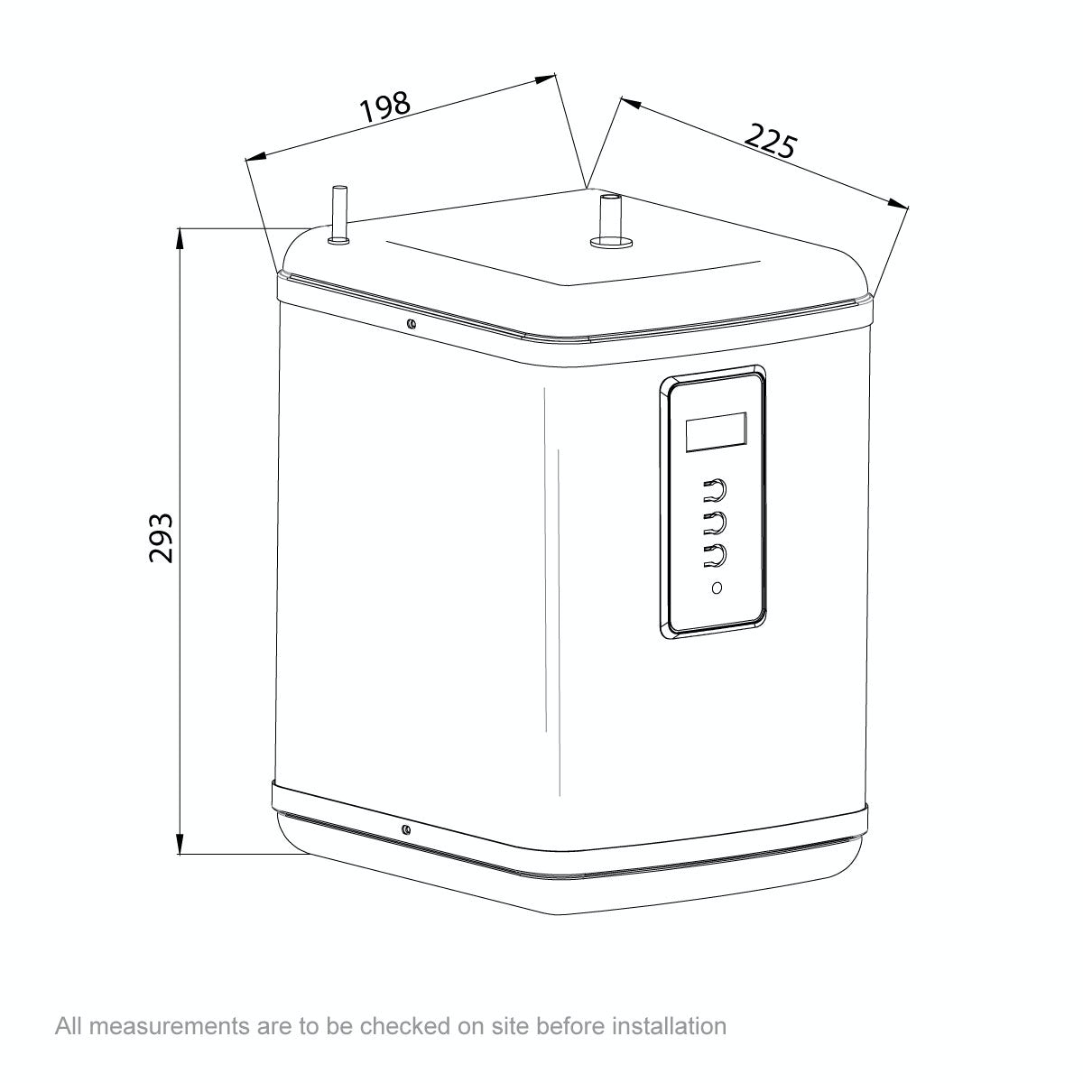 Dimensions for Ready Hot Two way boiling water tap with digital boiler