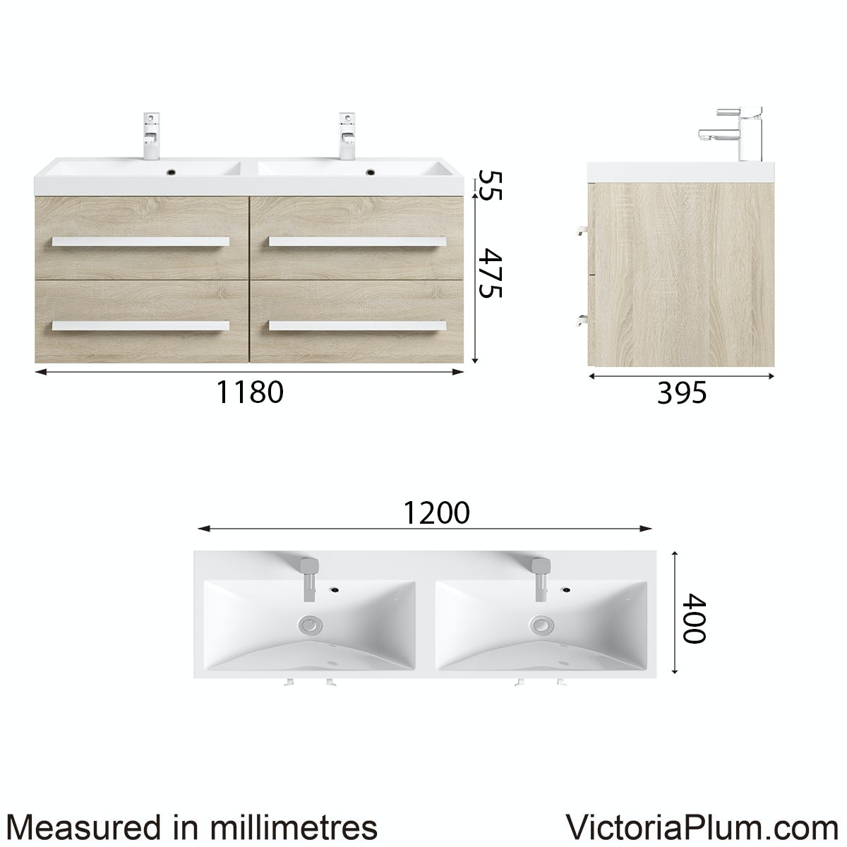 Dimensions for Orchard Arden oak wall hung double basin unit 1200mm