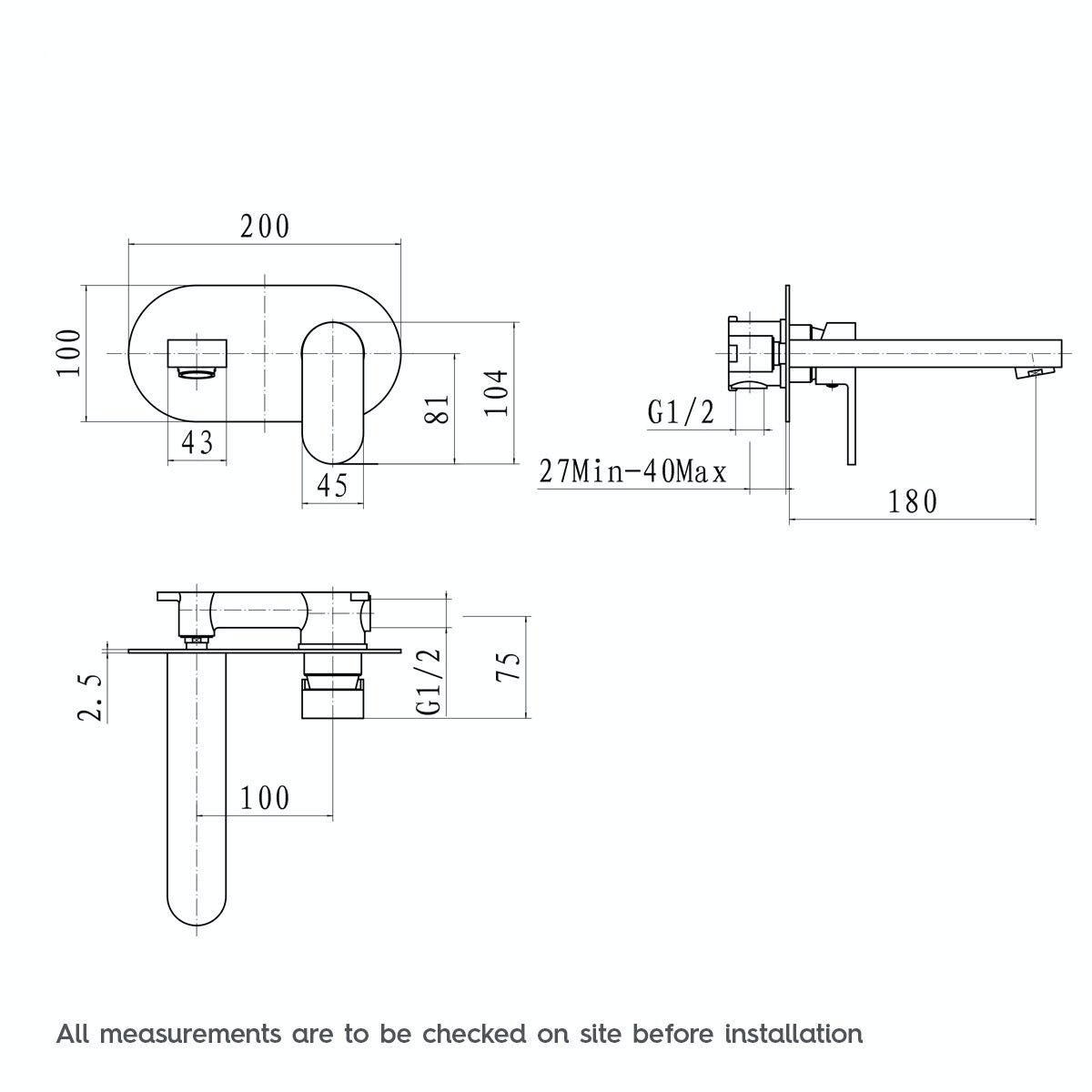 Dimensions for Mode Hardy wall mounted basin mixer tap