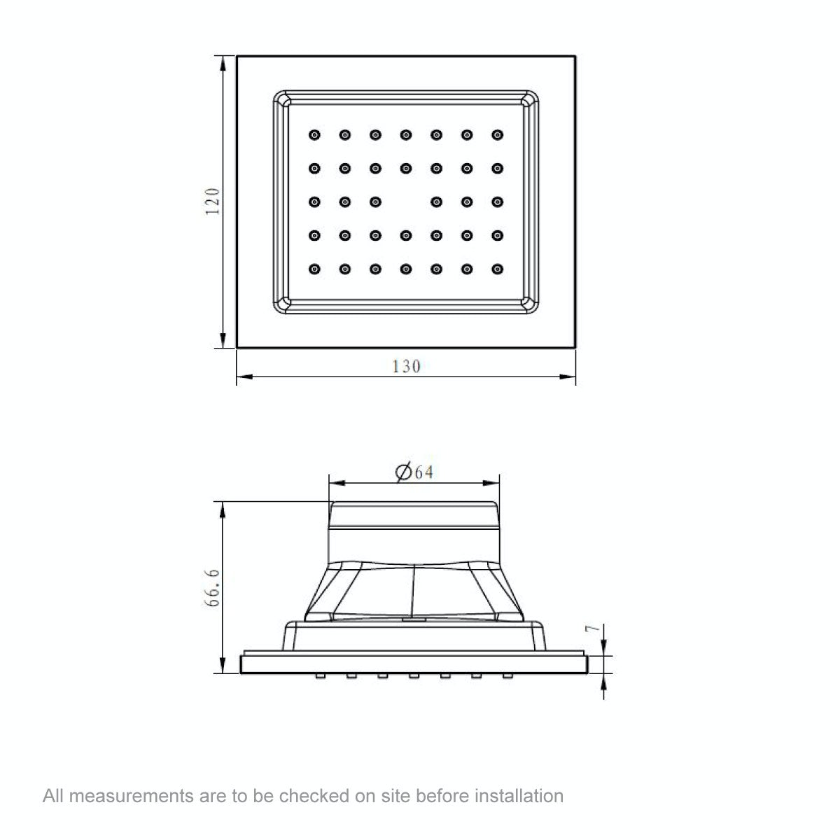 Dimensions for Mode Spa square shower body jet