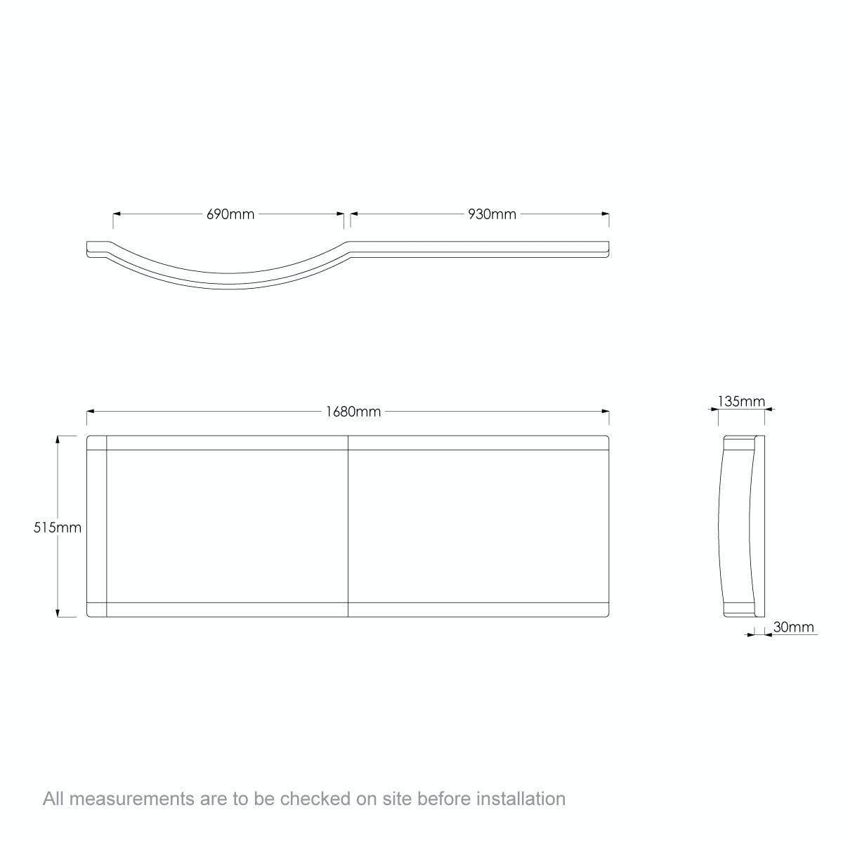 Dimensions for Orchard P shaped shower bath acrylic front panel 1675mm
