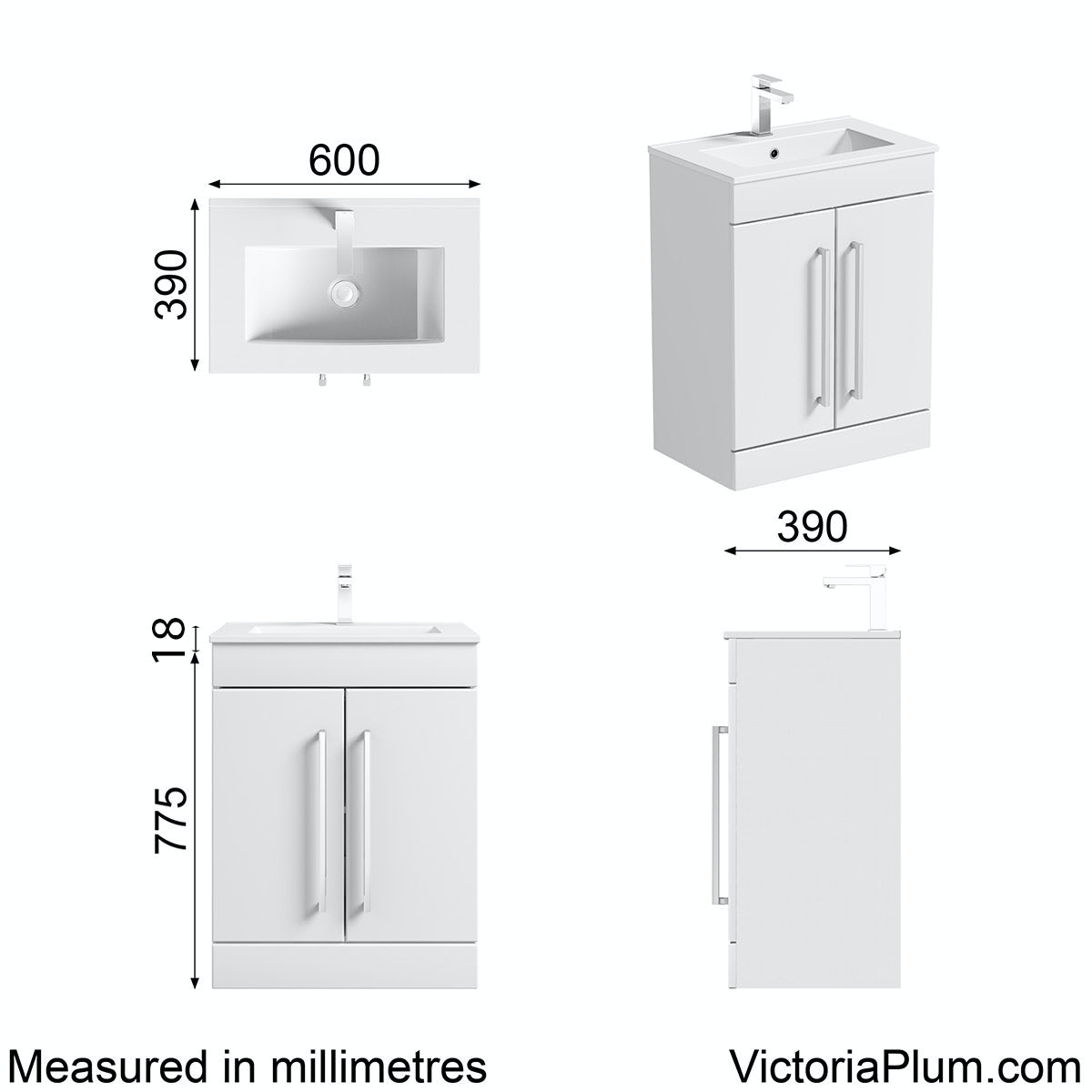 Dimensions for Orchard Derwent white vanity door unit and basin 600mm