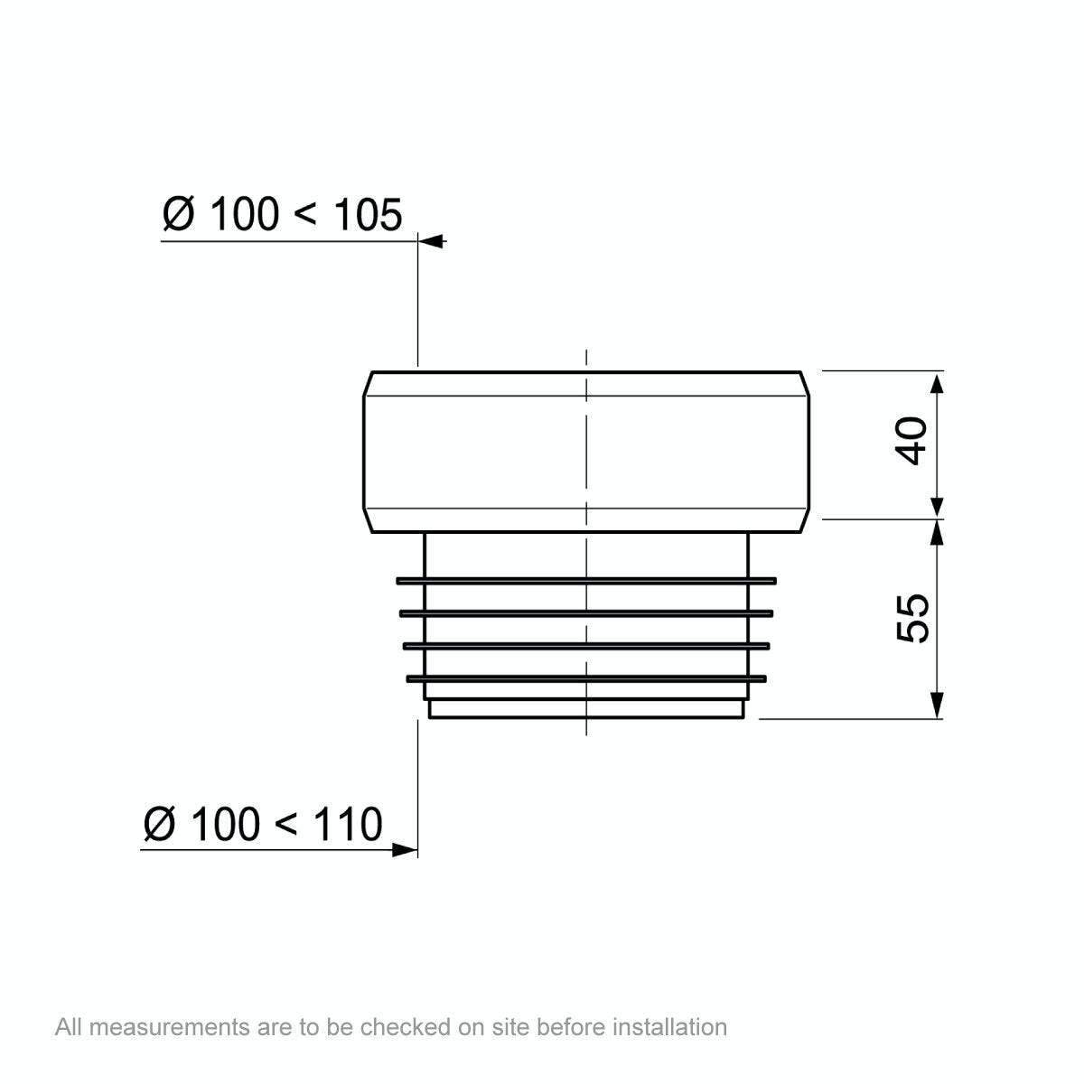 Dimensions for Macdee Wirquin short straight pan connector