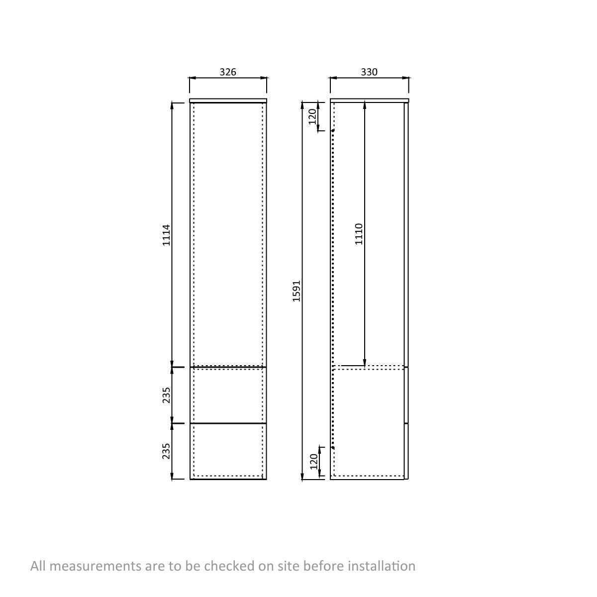 Dimensions for Orchard Wye oak wall cabinet