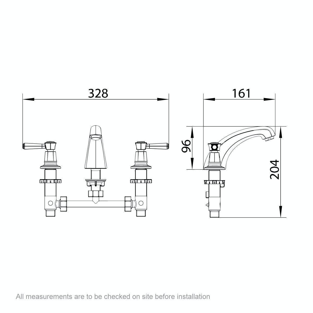 Dimensions for The Bath Co. Beaumont lever 3 hole basin mixer tap