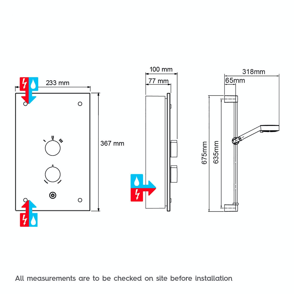 Dimensions for Mira Azora 9.8kw electric shower frosted glass