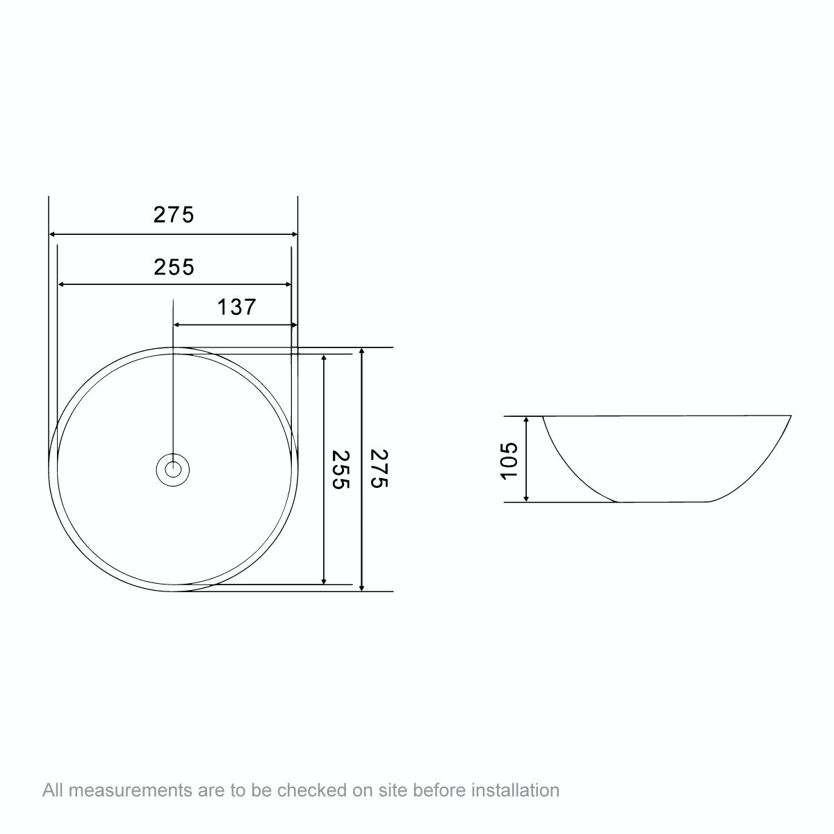 Dimensions for Orchard Tahoe countertop basin diameter 275mm