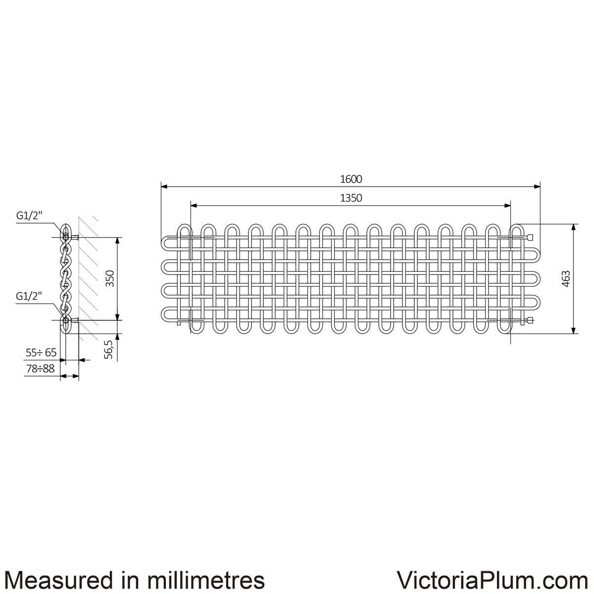 Dimensions for Terma PLC chrome effect horizontal radiator 463 x 1600