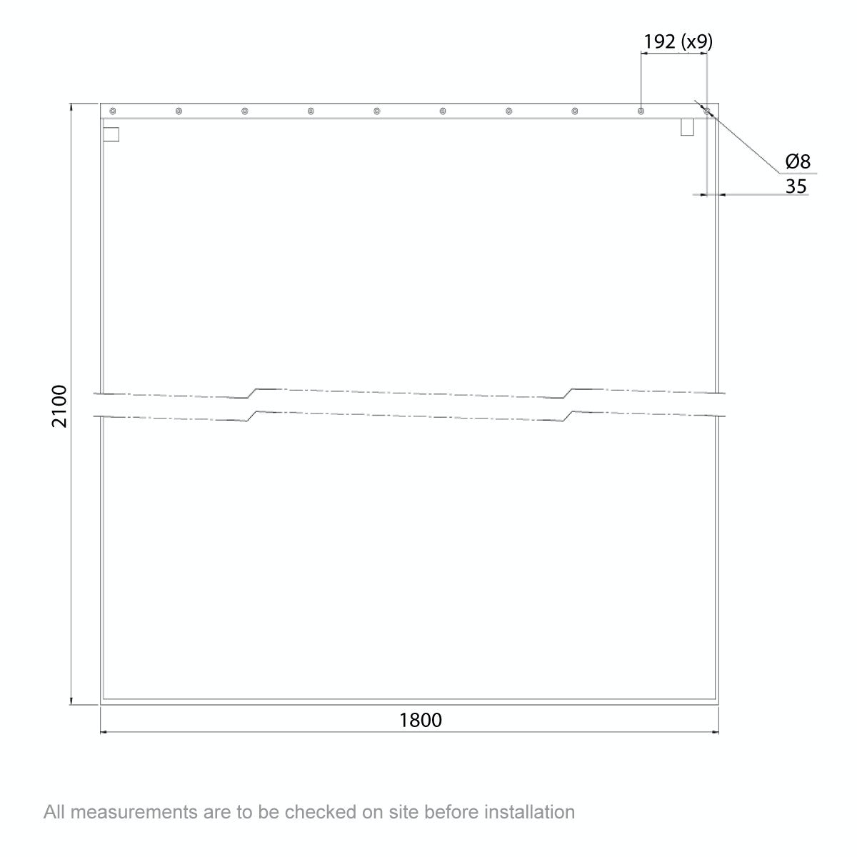 Dimensions for AKW Shower curtain 1800 x 2100