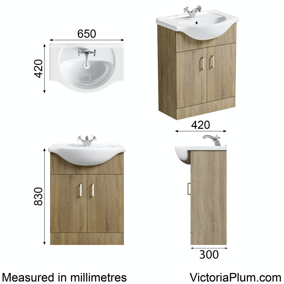 Dimensions for Eden oak vanity unit and basin 650mm