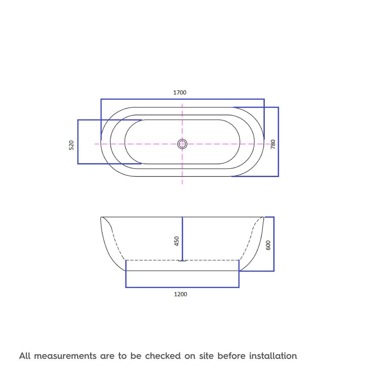 Dimensions for Mode Ellis galaxy coloured freestanding bath