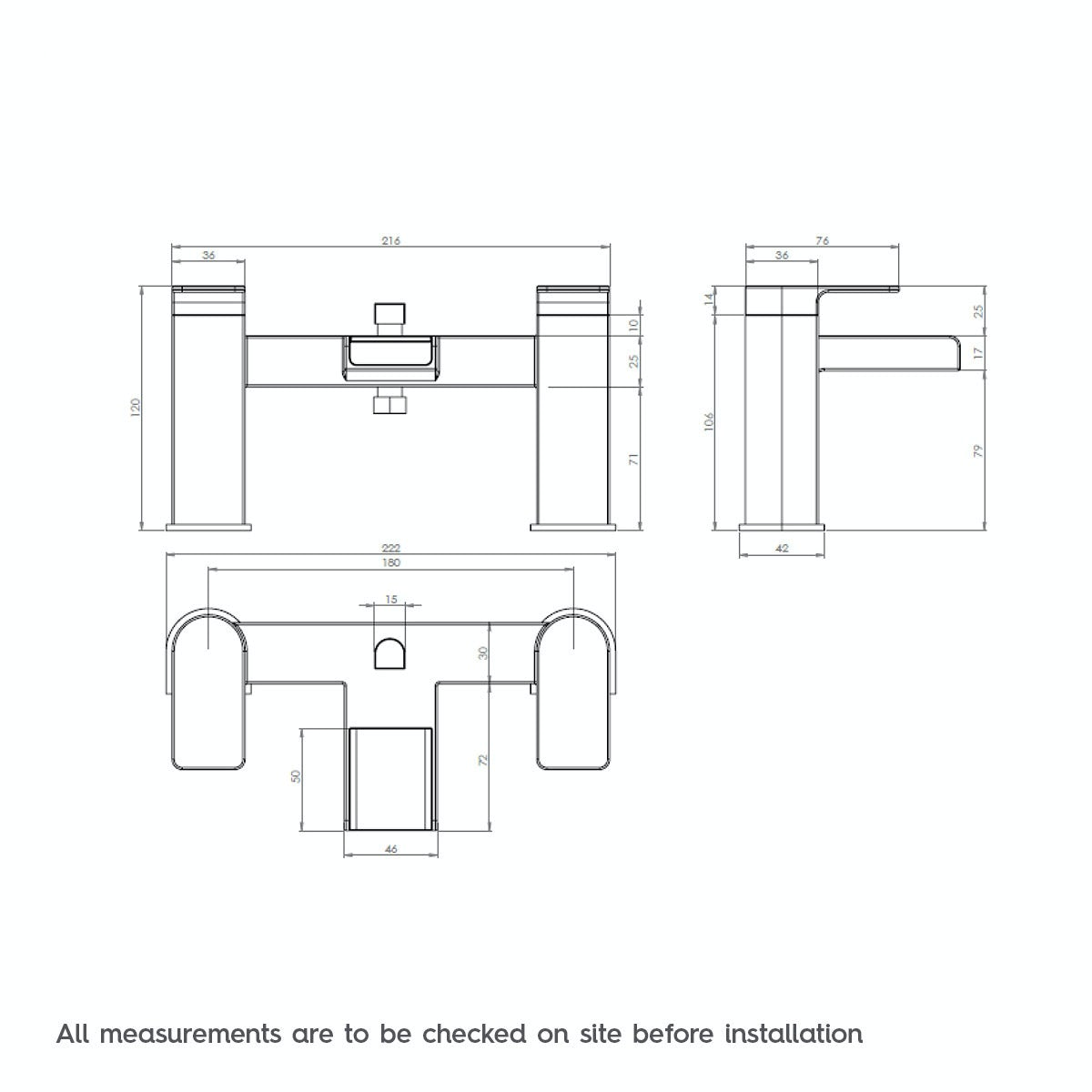 Dimensions for Mode Cooper bath shower mixer tap