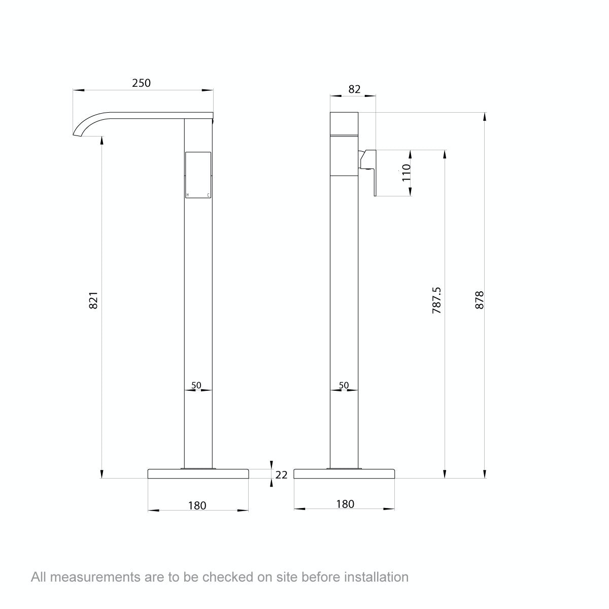 Dimensions for Mode Austin freestanding bath filler tap