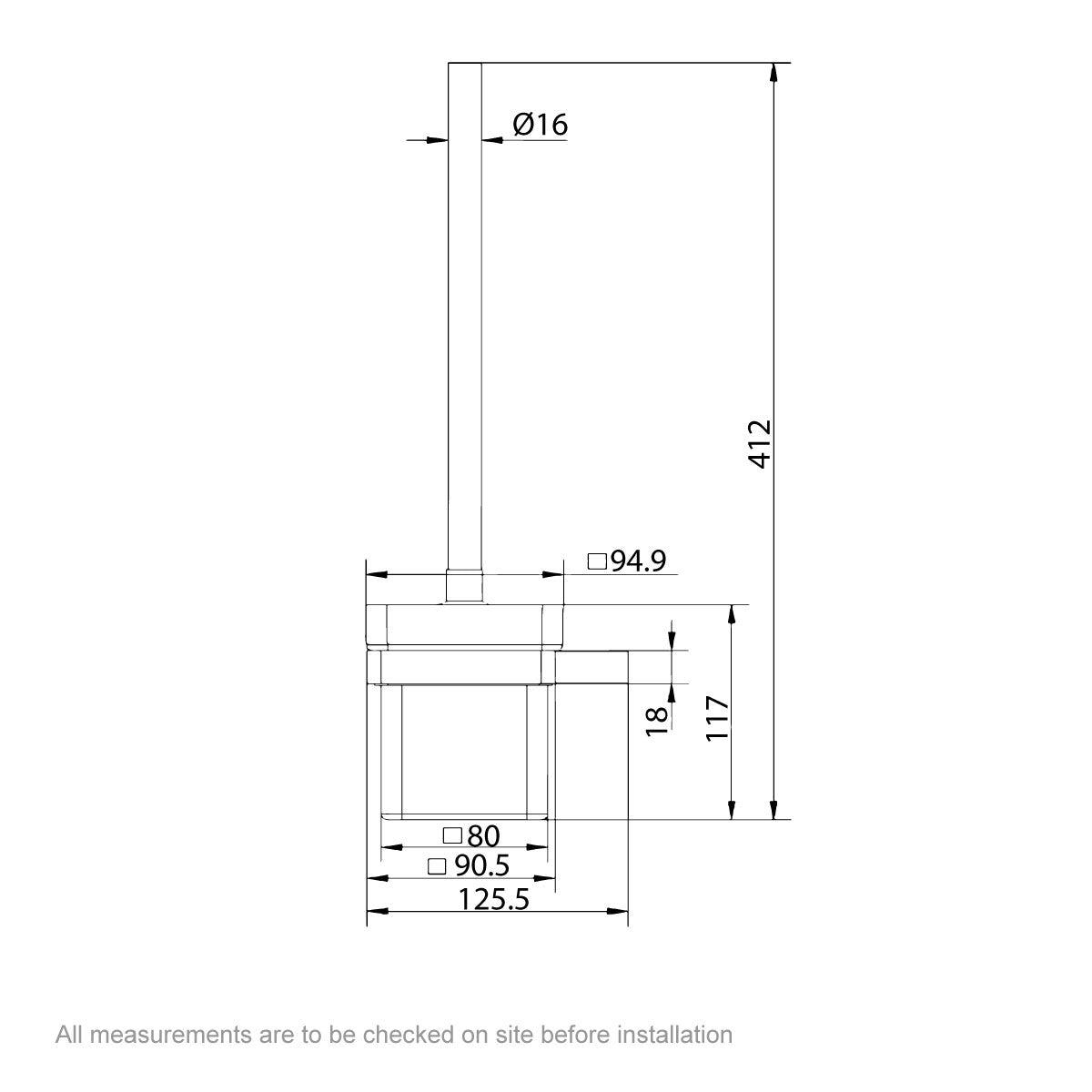 Dimensions for Mode Spencer rose gold toilet brush and holder