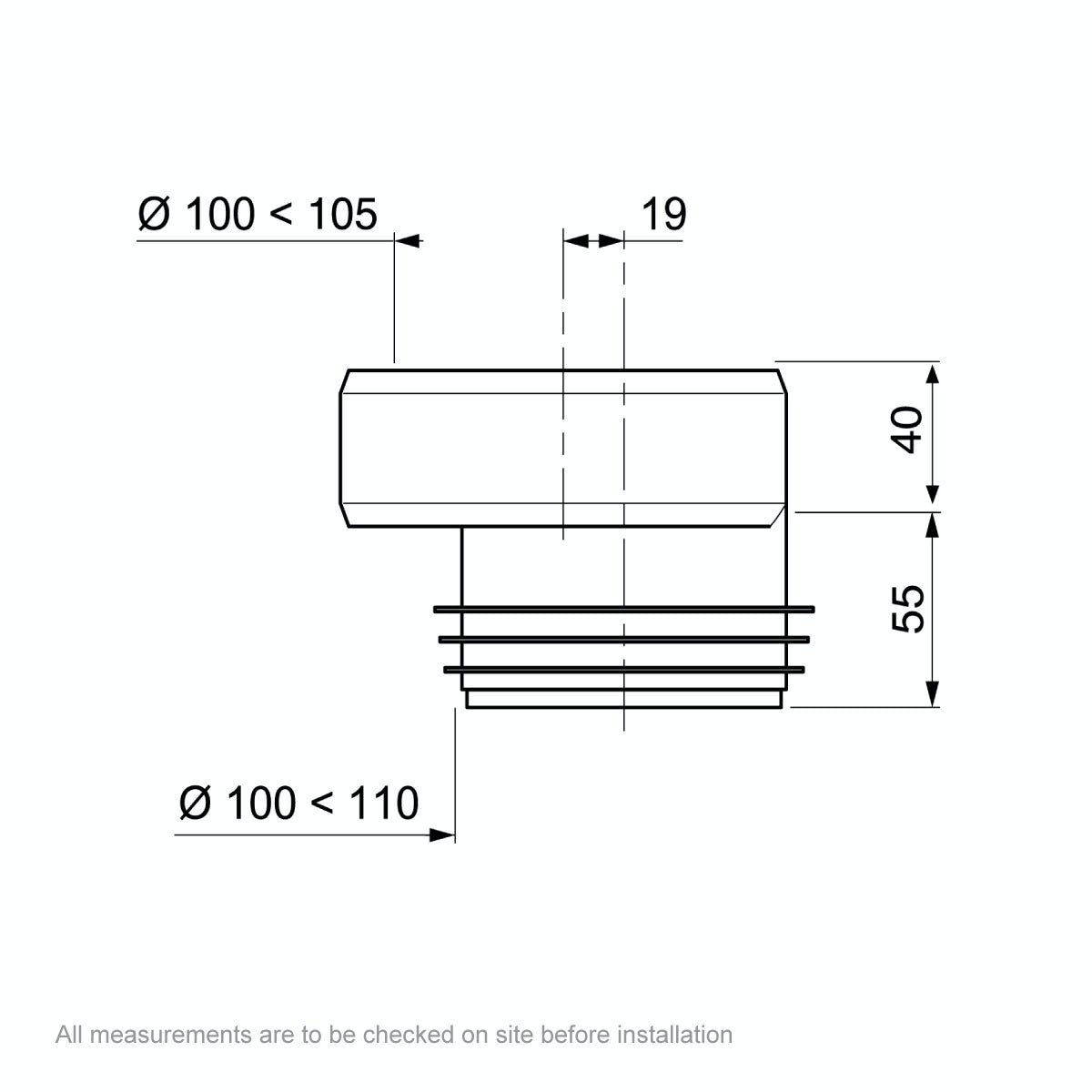 Dimensions for Macdee Wirquin offset Pan Connector