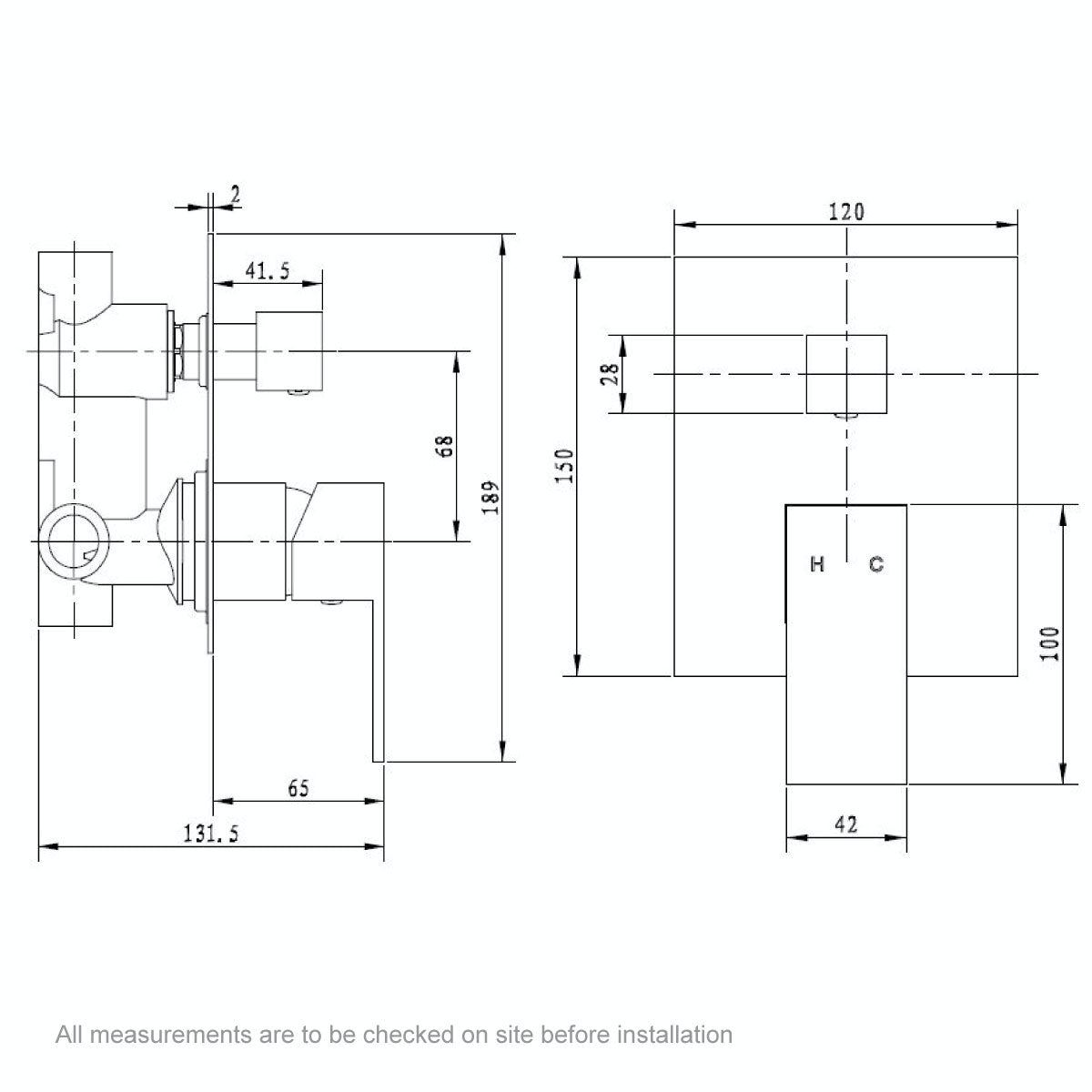 Dimensions for Orchard Square manual shower valve with diverter