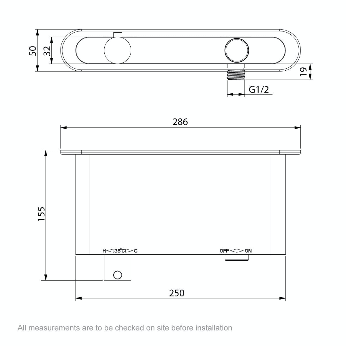 Dimensions for Mode Foster twin thermostatic push button shower valve