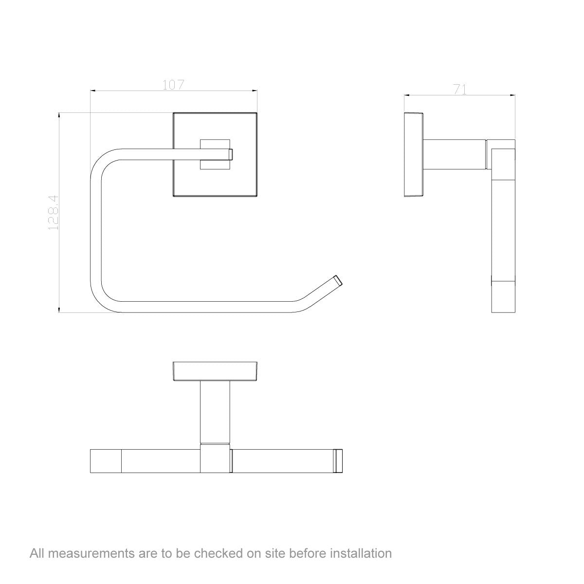 Dimensions for Orchard Flex toilet roll holder