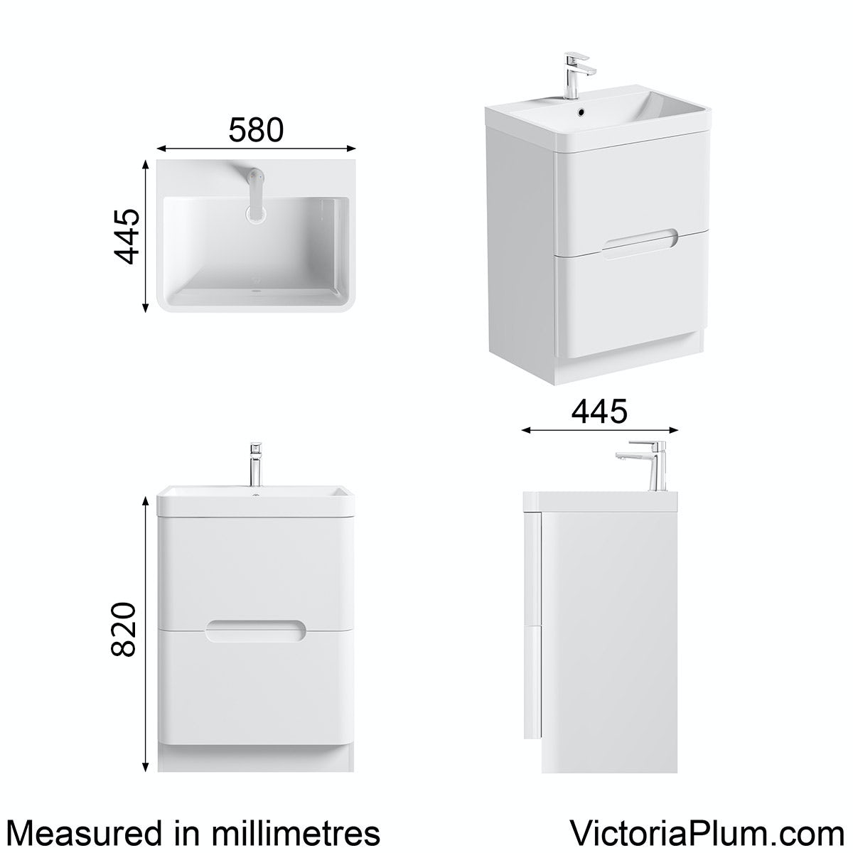 Dimensions for Mode Ellis white vanity drawer unit and basin 600mm