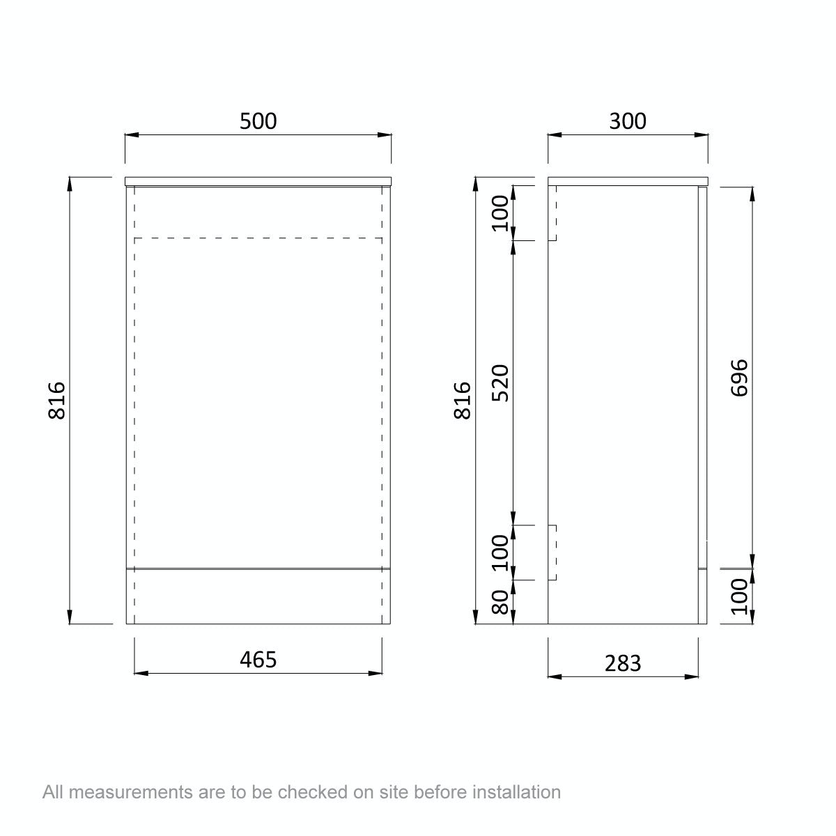 Dimensions for Arden oak back to wall toilet unit